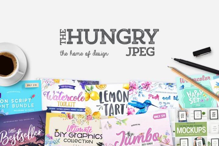 The Hungry Jpeg - great resource for images, fonts, and templates.