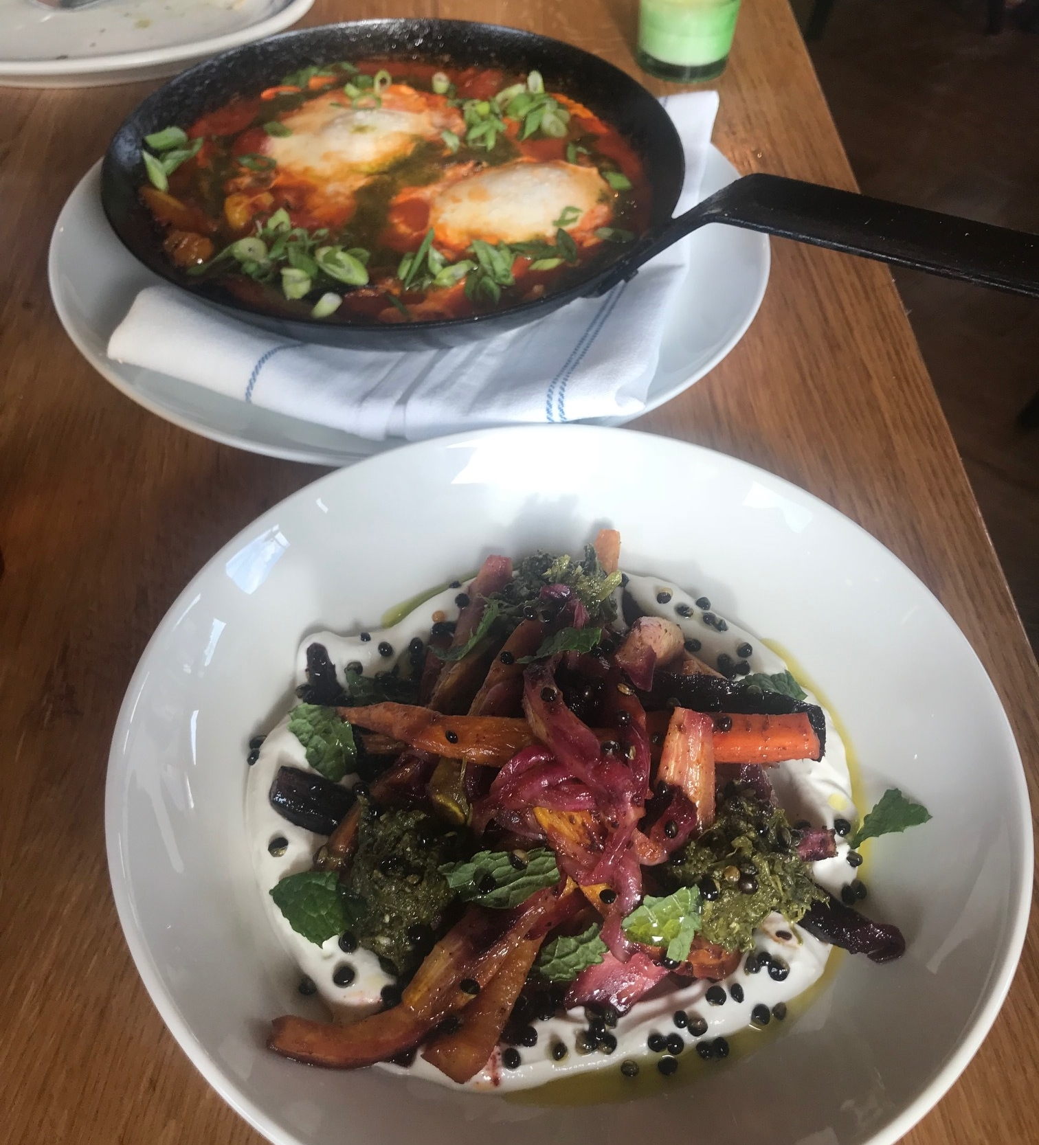 The Moroccan Carrot salad (front) and the Shakshouka (back).