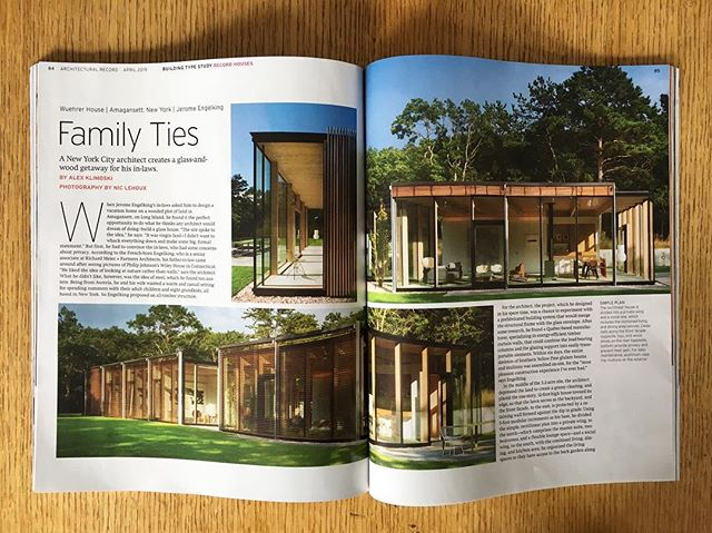 """And this is how it looks in print. Honored to have the Wuehrer House featured in @ArchRecordMag iconic Record Houses 2019 issue: """"as one approaches the front facade, which is clad with vertical slats of cedar, the residence doesn't seem like an all-glass house. It is not until one enters that the full effect of transparency is realized; as you walk in, the woody surroundings become one with the house."""" Text by @alex_klimo / Photos by @nic.lehoux #Modern #Contemporary #Architecture #Design #NewYork #Residential #LongIsland"""
