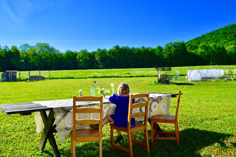dinner with a view, eat outdoors, outdoor table, patio table, modern homestead, farmette, modern farmer, kids who farm