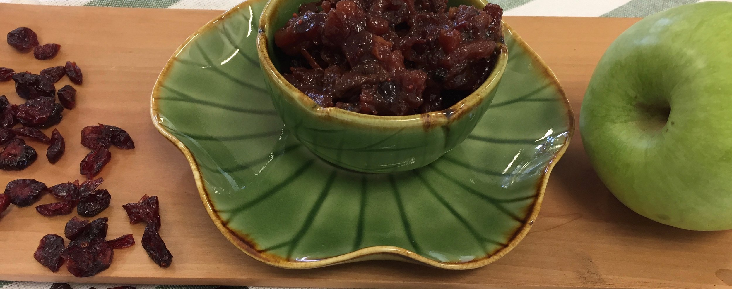 - Cranberries are full of Vitamin C, A and K. A natural go to for urinary tract infections.Most importantly they are a fat emulsifier,helping your lymphatic transport system flow.Cranberry ChutneyYields - 2 jars.4 cups Frozen Cranberries2 cloves Garlic2 tsps. Cinnamon2 tsps. Ginger (finely grated)1 cup Cranberry Juice (unsweetened)1 tbsp Orange Rind1/3 cup Coconut Sugar (or maple syrup)3 tbsps Currants5 Black Peppercorns2 Apples (Granny Smith)4 Whole Cloves1 Green Chili (Finely diced)1 tsp Ghee1 tsp Cumin SeedsIn a medium saucepan, combine cranberries, apples, currants, spices, ginger, cranberry juice, and orange zest. Allow the mixture to come to a boil over medium high heat. Add in sweetener (coconut sugar or maple syrup) after turning the heat down to low.Simmer for about 20 minutes, until chutney thickens to a jam like consistency. You may want to remove the cloves to avoid biting into one, or leave them in to further infuse the chutney. Heat the ghee add cumin seeds and the finely diced chilli. Temper the chutney by adding this heated mixture to the chutney. Serve with roasted vegetables steamed greens or vegetable fritters.Note: If you don't have frozen cranberries, use reduced sugar cranberries but only 2 cups. Add an extra cup of cranberry juice and 1/2 cup orange juice. You may have to add water to keep the mixture from drying.