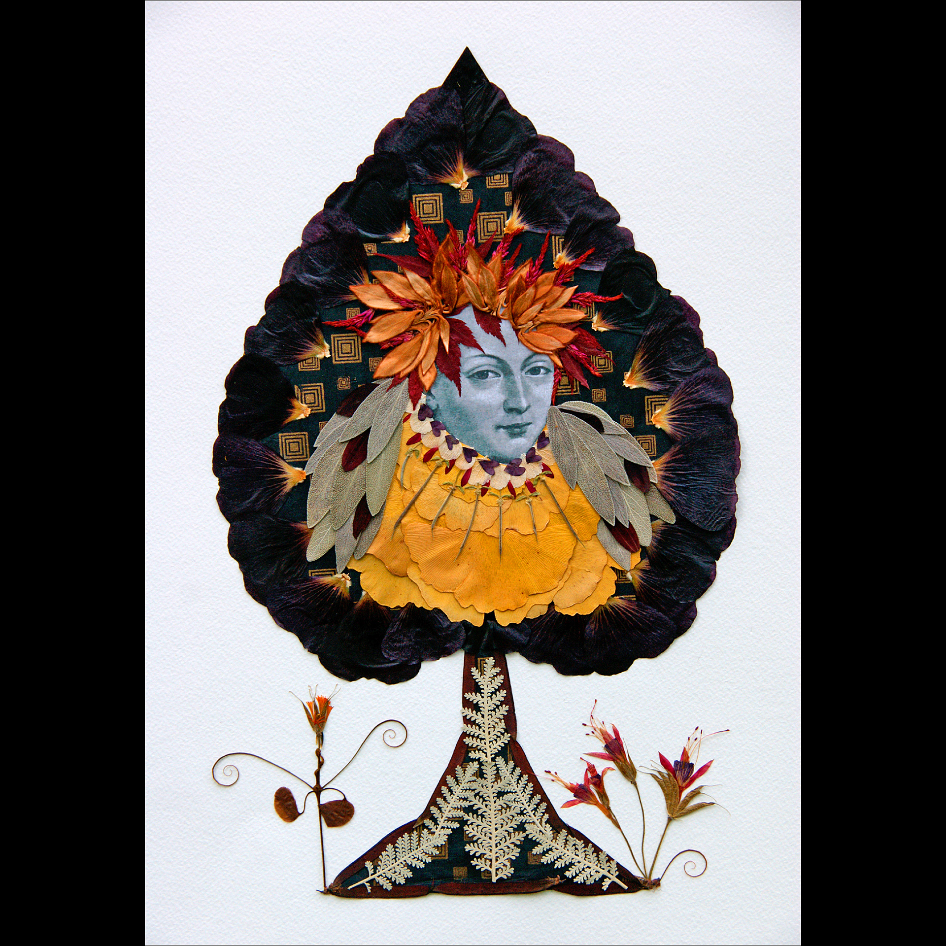 Queen of Spades    Primary Botanicals: Black hollyhock, celosia, ginkgo, sage, red bud pods, Japanese maple leaves, and sunflower petals.  Winner of the People's Choice Award, Columbia Art League, Columbia, Missouri. 2015.
