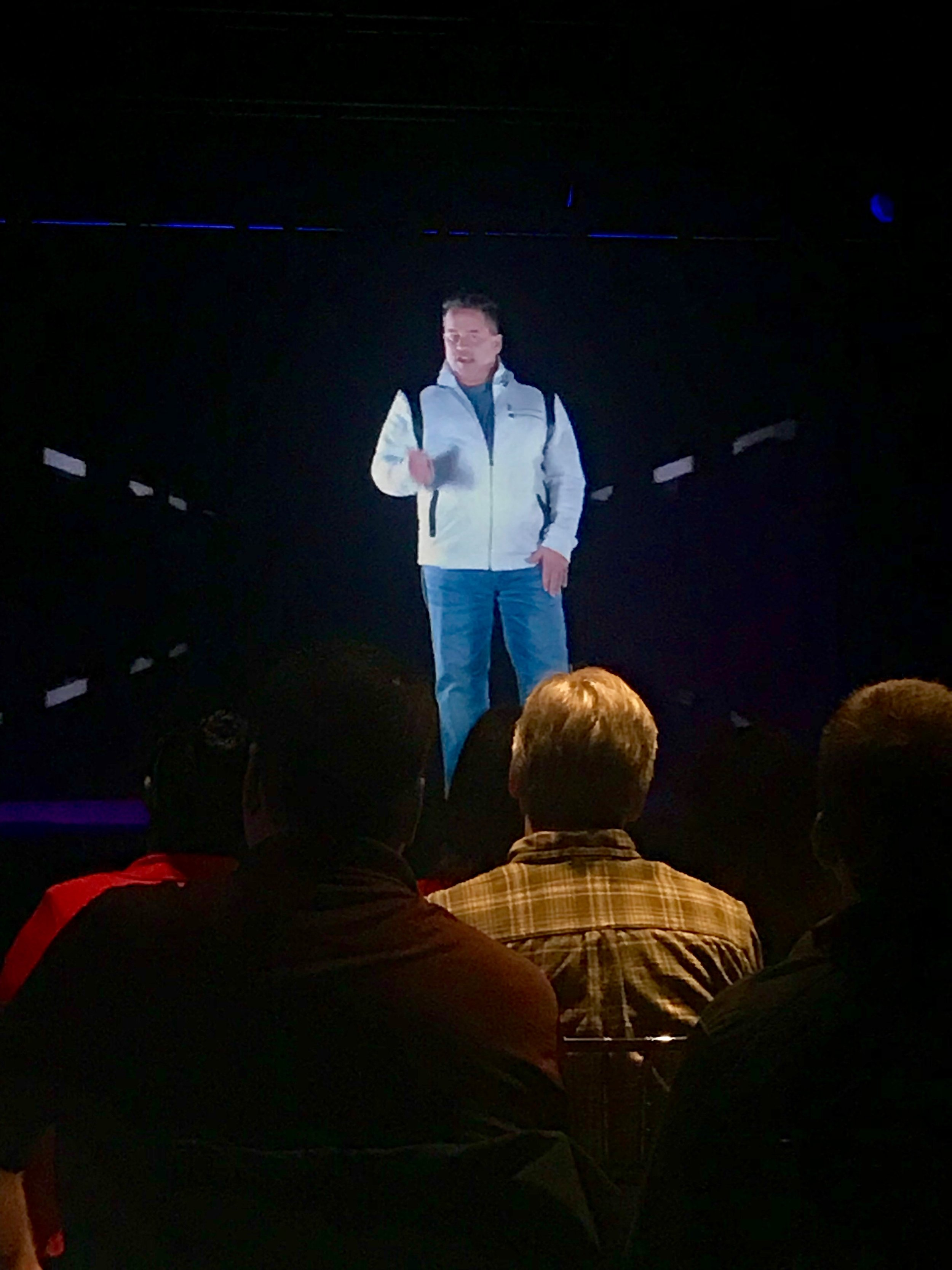 Illusionist Bobby Borbia showcasing virtual telepresence at our holographic theater in Cleveland, Ohio. Bobby could have been anywhere in the world.