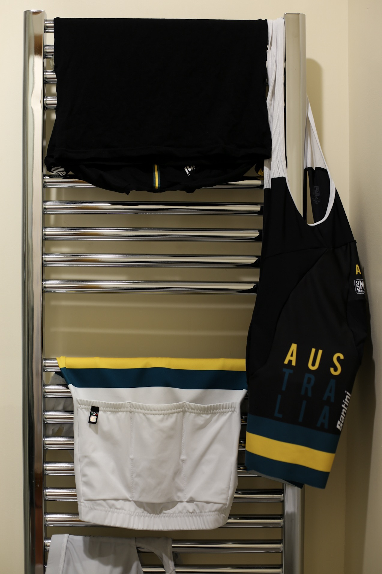 Wearing and washing - the uniform 24 hours before they raced.