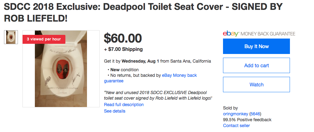 Deadpool toilet covers from SDCC, selling on Ebay for $50 and up