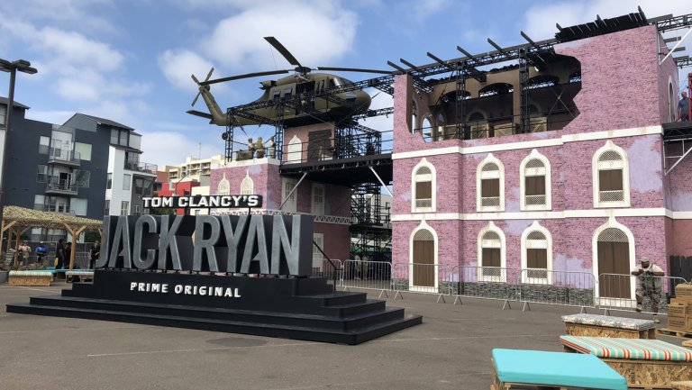 Jack Ryan and Amazon spent the big bucks but got a lot of buzz by designing the fan area to be incredibly visually arresting. Even passers-bys couldn't help but rubberneck as the fans ziplined across the parking lot and a helicopter was perched high overhead.