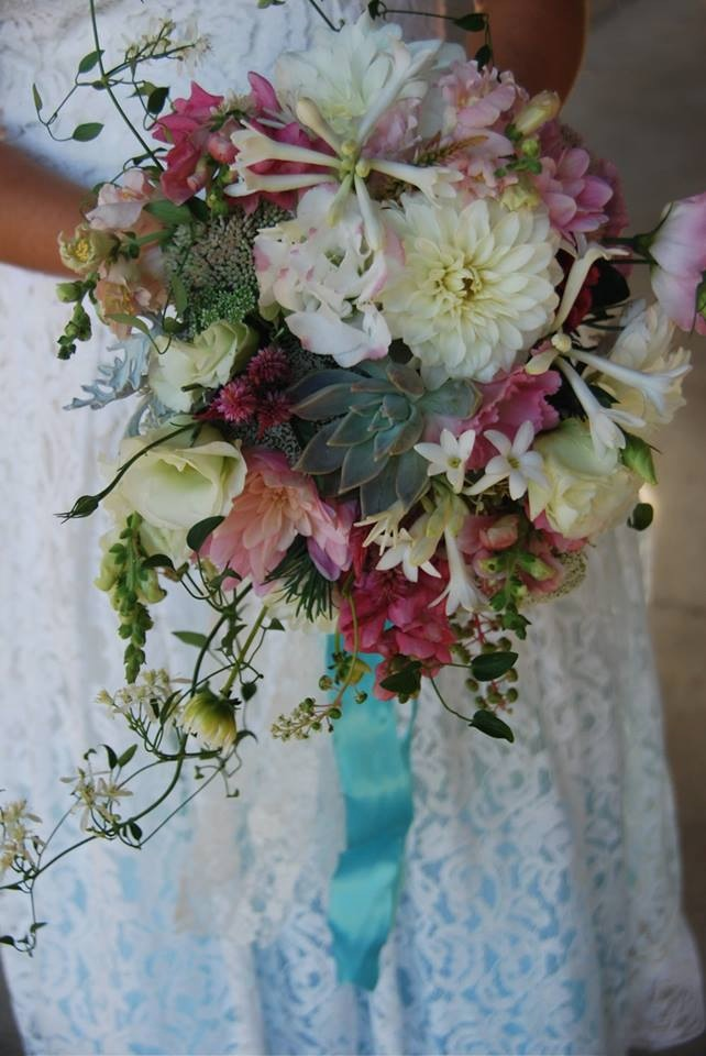 summer bouquet of dahlias, tuber rose, vines and more