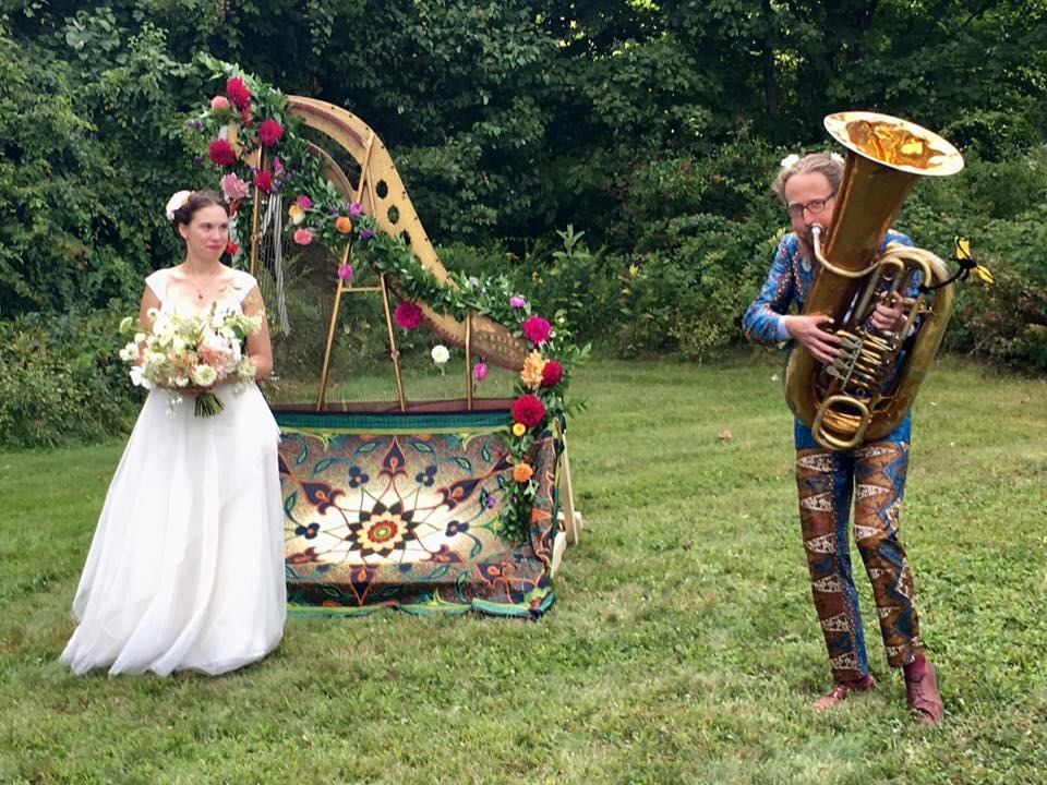 an early September wedding heavy on the dahlias and funk