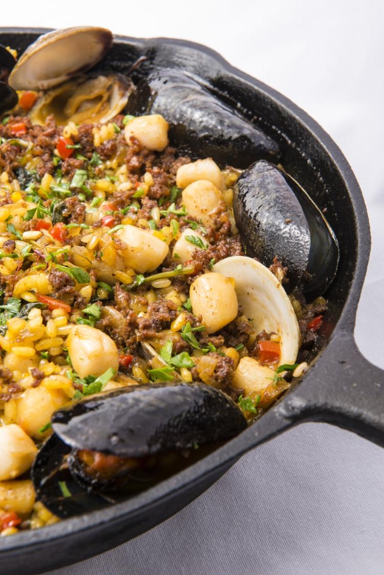 Paella  La Florida, Mussels, Clams,Scallops, Chorizo, Saffron, Valencia Rice