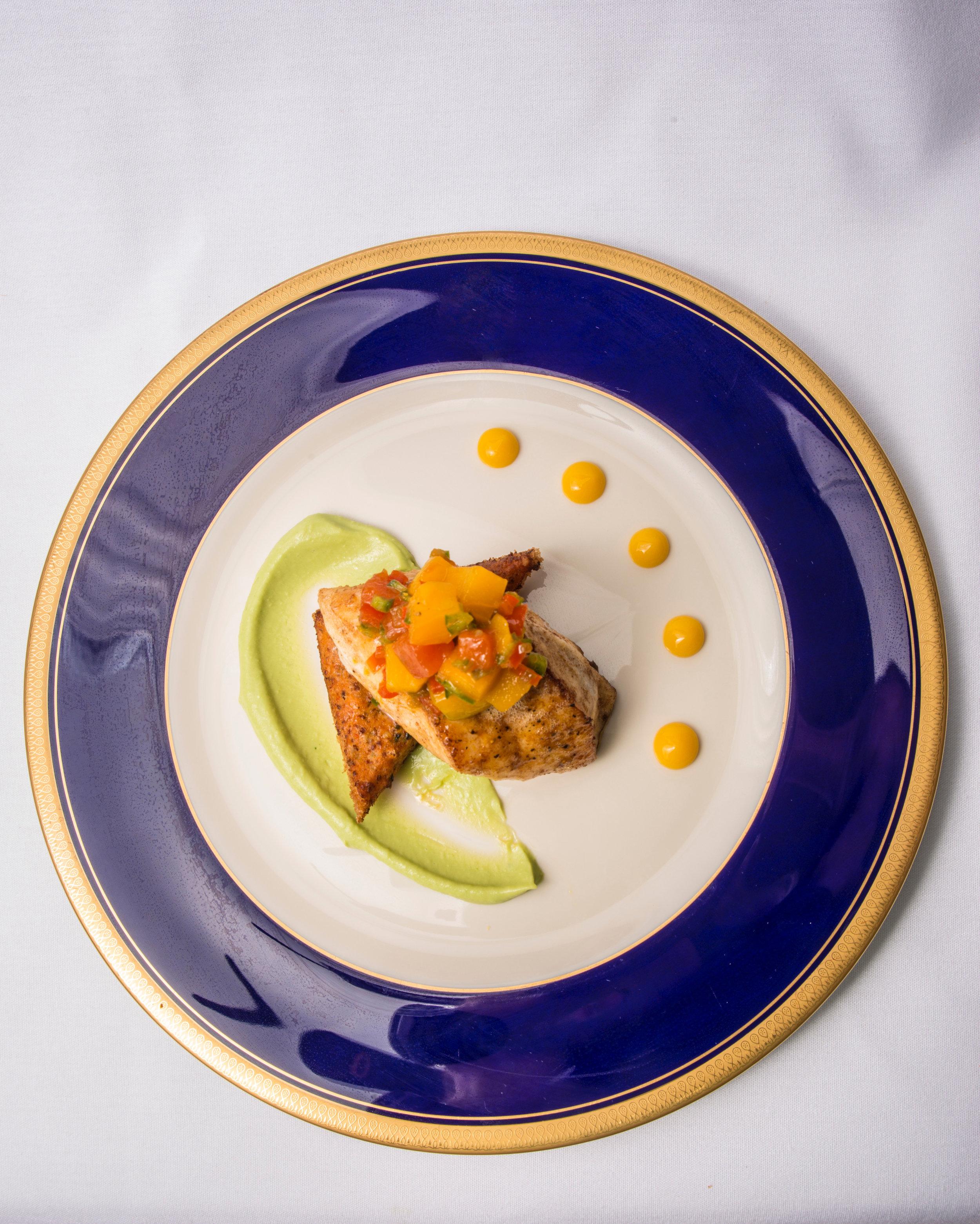 Pan Seared Grouper, Shrimp Toast, Avocado Mousse, Papaya Mango Chutney &Tropical Coulis