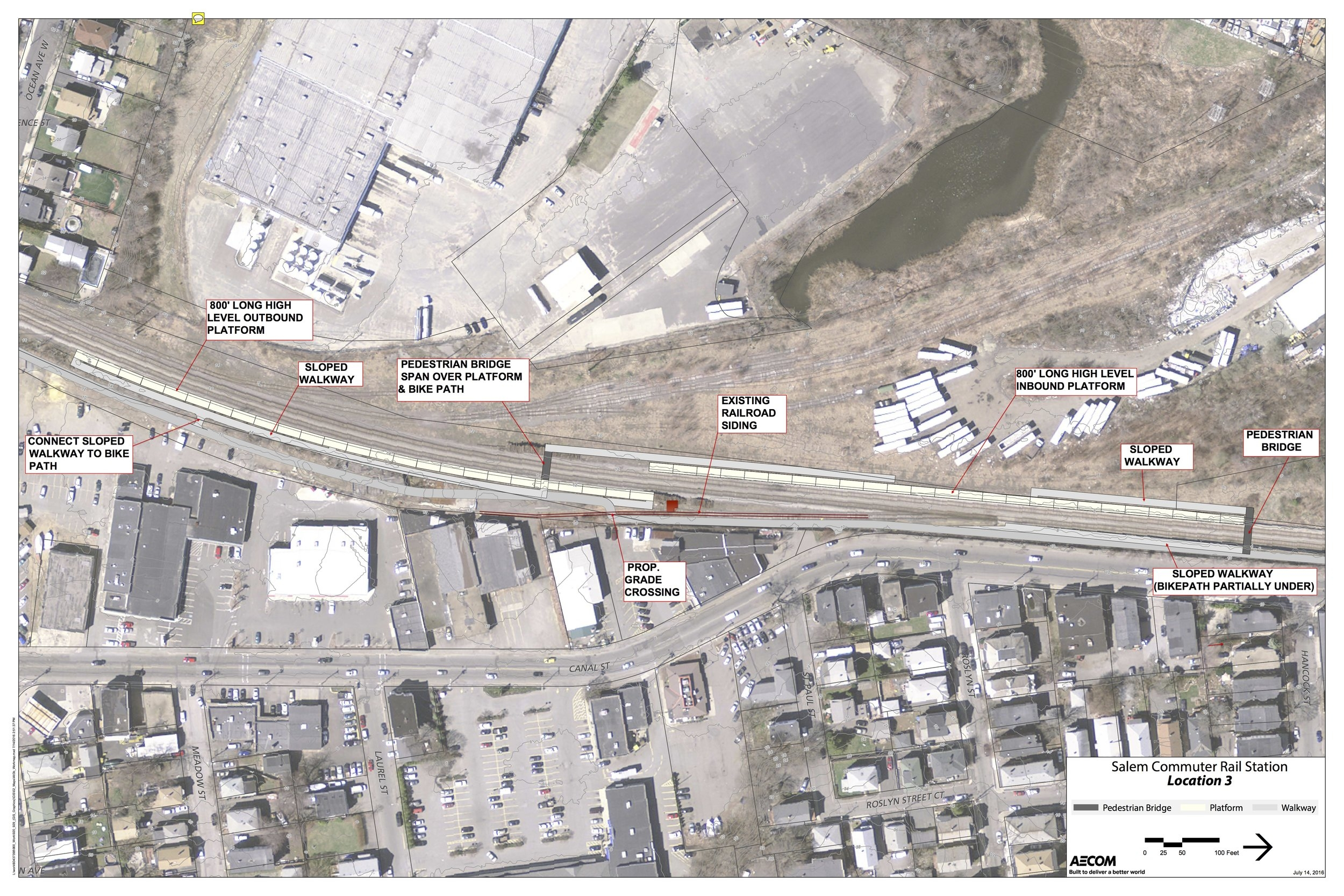 Preferred location for South Salem Commuter Rail Stop showing access to Canal Street.