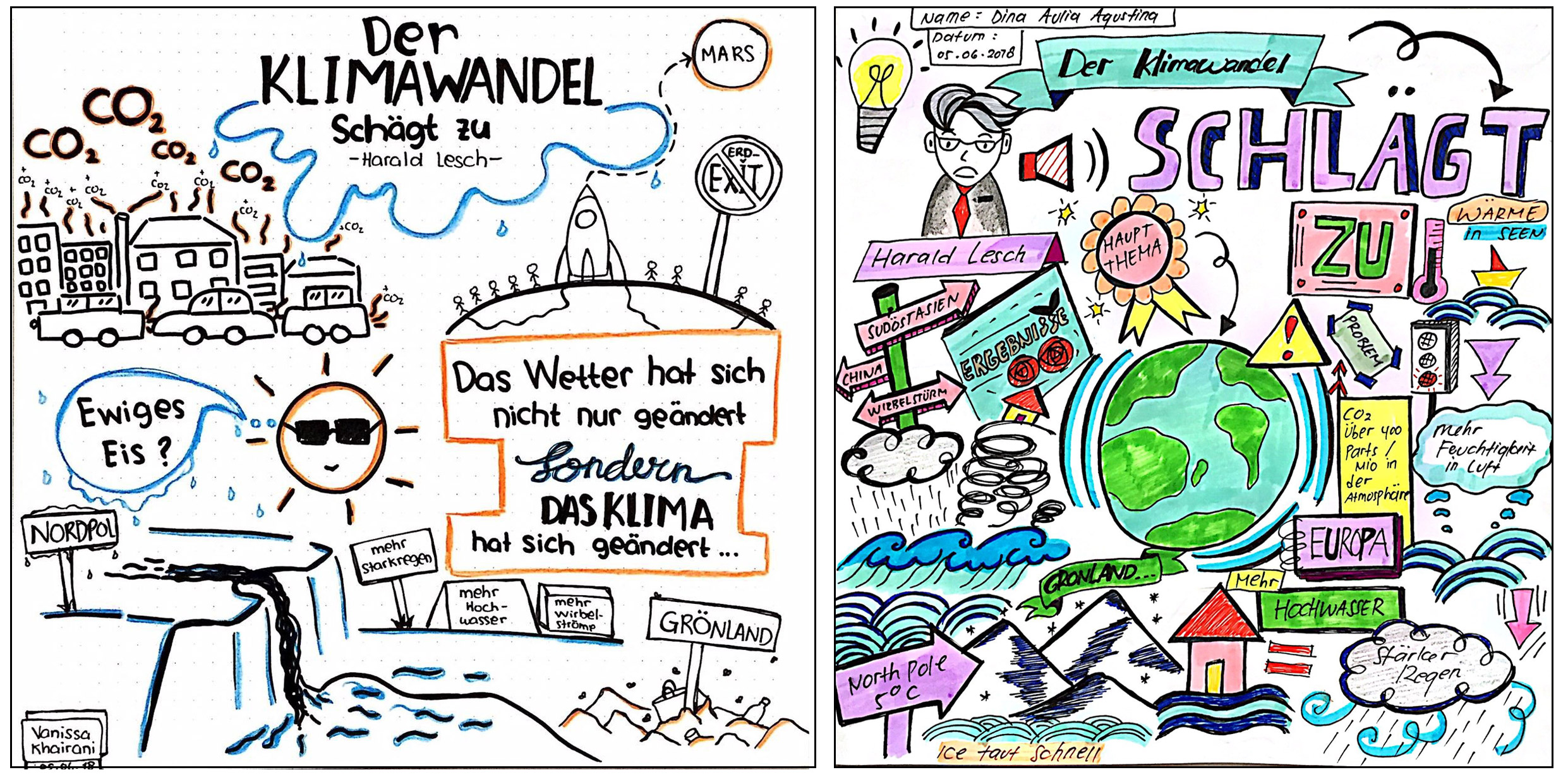 Fig. 5 Sketchnotes from a video by Harald Lesch about climate change.