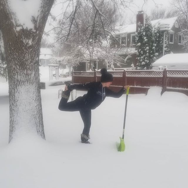 Day 2 Dancer Pose  @diannebondyyoga 's challenge  #showmeyourasanachallenge Pose list  Day 1: Pigeon  Day 2: Dancer (Today) Day 3: Bow Day 4: Boat  Day 5: Camel Day 6: Eagle  Minnesota was just being Minnesota again.  Finished shoveling the driveway and thought that the shovel would be a nice prop for a supported dancer pose.  #YFESHOWMEYOURASANSA  #YogaForEveryonebook #yogaforall #yogachallenge #yogachallenge2019 #yogaforEveryBody #yesyoucanyoga #yoga #asana #snowydancer