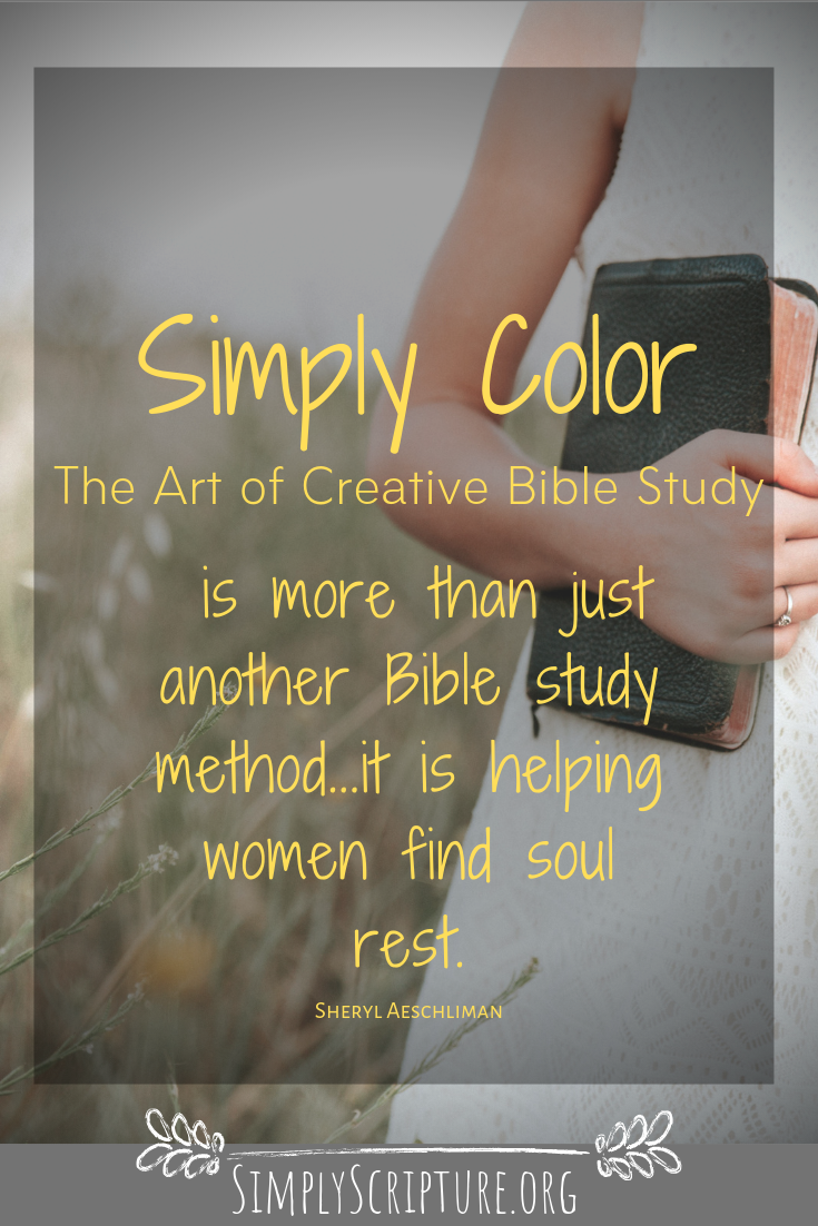 Simply Color is a unique way of studying your Bible! All you need is 8 basic color pencils, a Bible, and a heart that is pursing God. This study is perfect for seekers, new believers and women who need some soul rest! Simply Scripture.