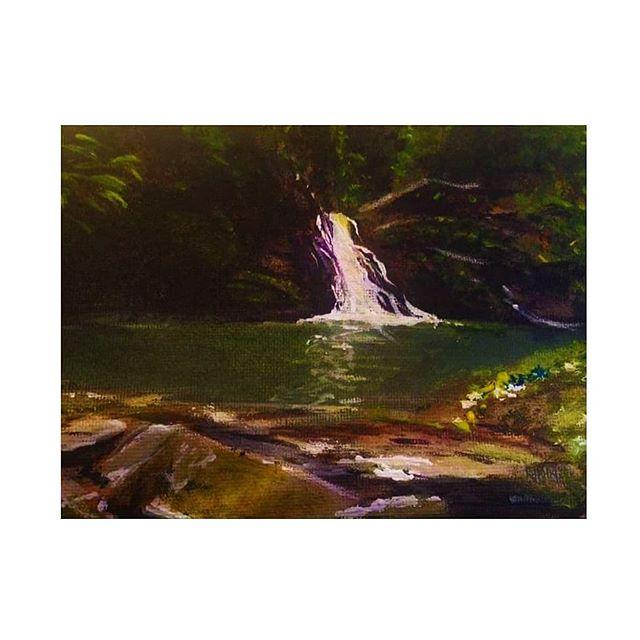Waterfall in Trinidad 🌊🌴 . . . . . #trinidad #waterfall #acrylicpainting #art