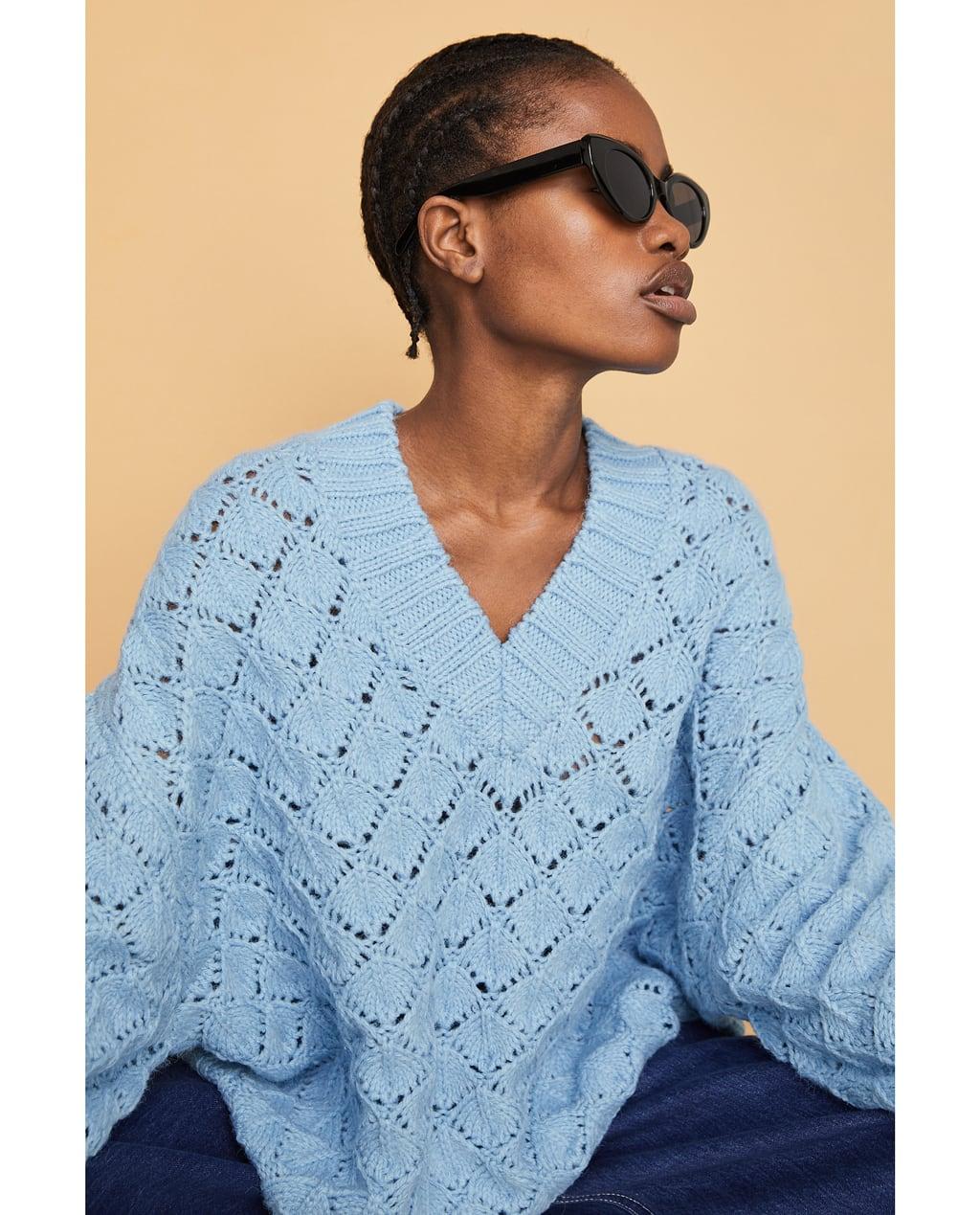 ZARA V-Neck openwork sweater $59.95