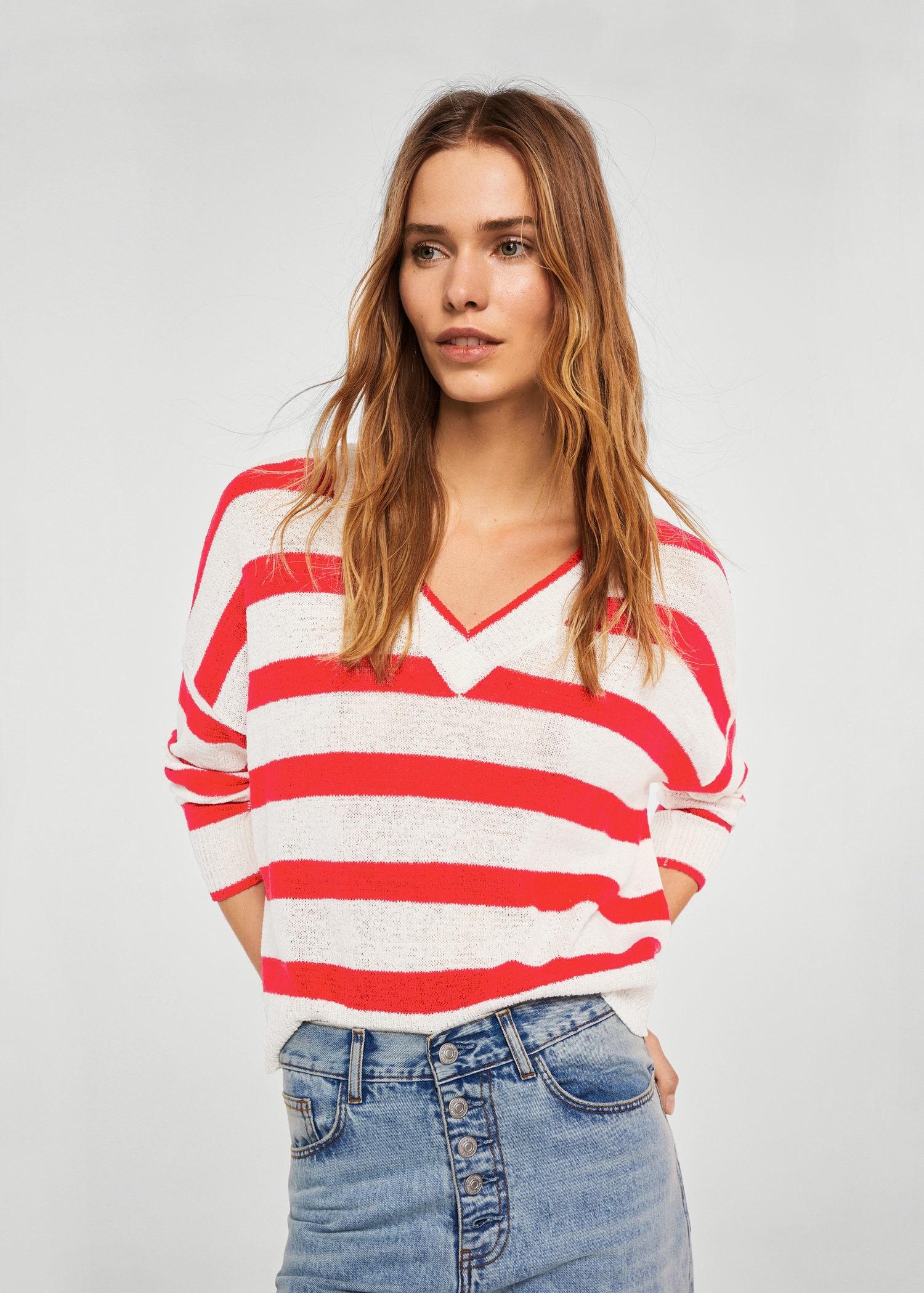 MANGO (MNG) V-neck stripe sweater $39.95