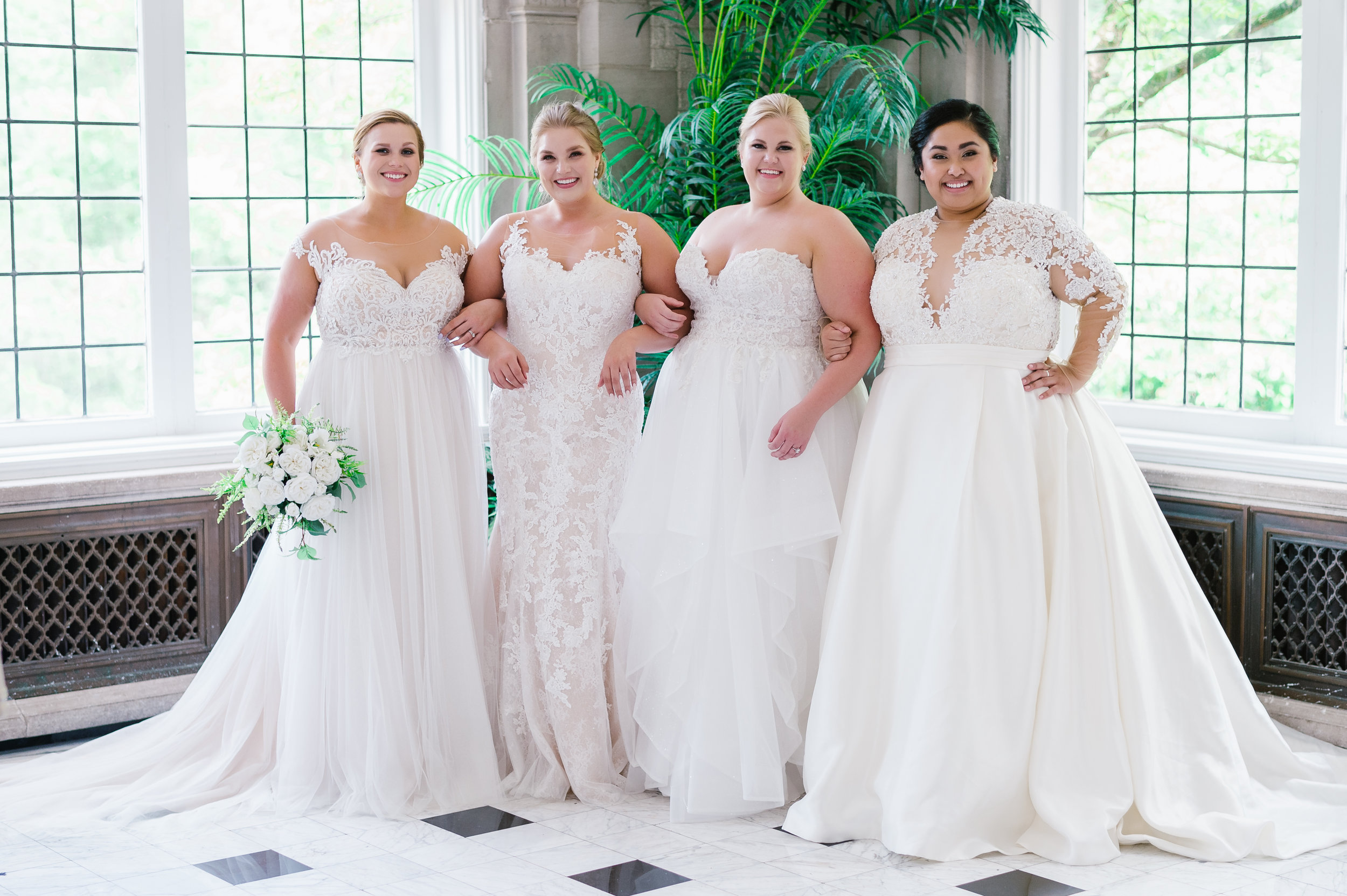 About Us! - Our bridal boutiques were created with you in mind. We are a specialty bridal salon. In every sense of the word, our selection and top designers are specifically chosen for a reason. All of our samples start from size 14 to 34 with over 400 unique wedding dress styles in each store. This dedication to women's bodies who may not fit into the
