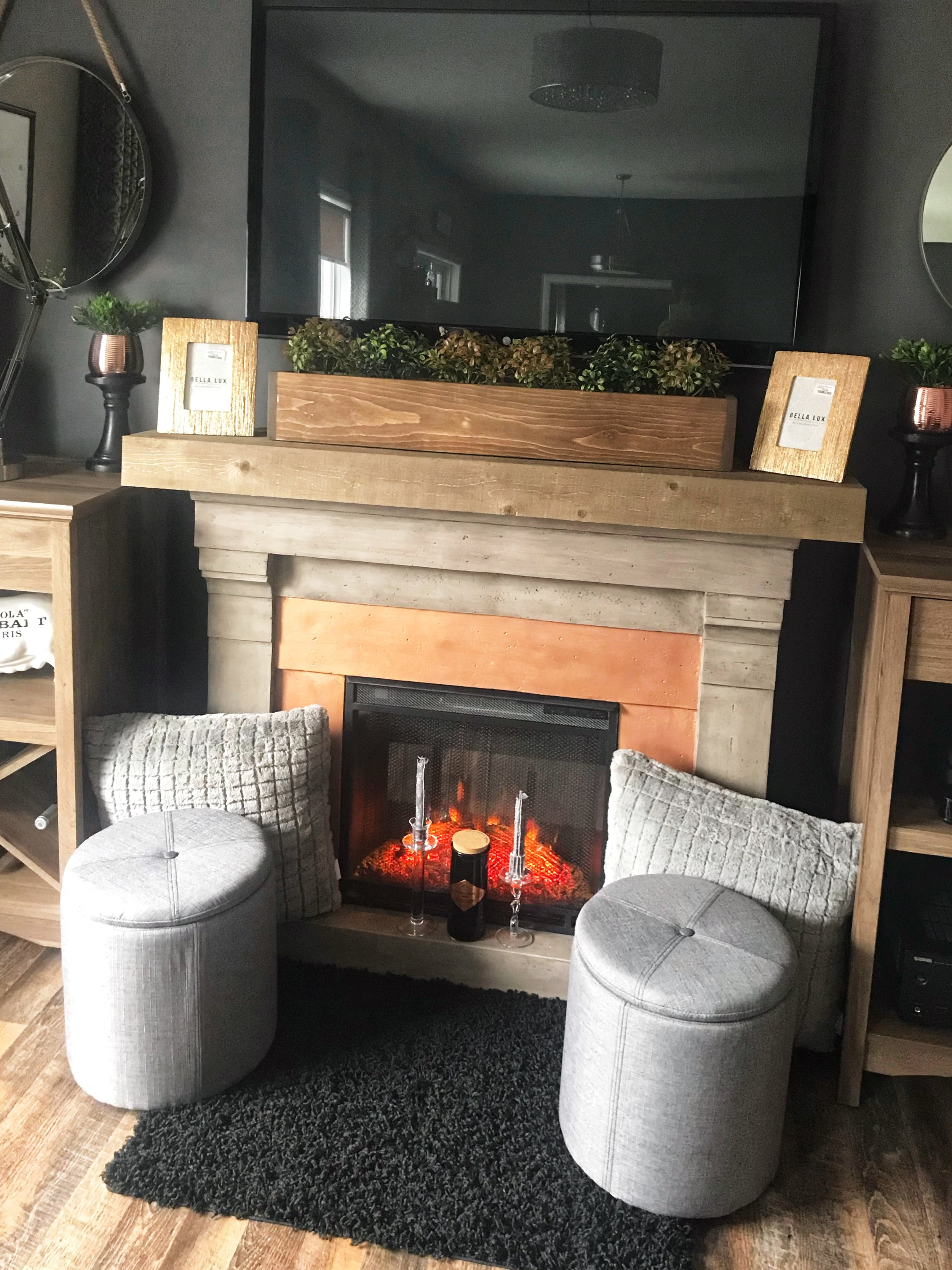 Our mini fireplace makeover from earlier this year