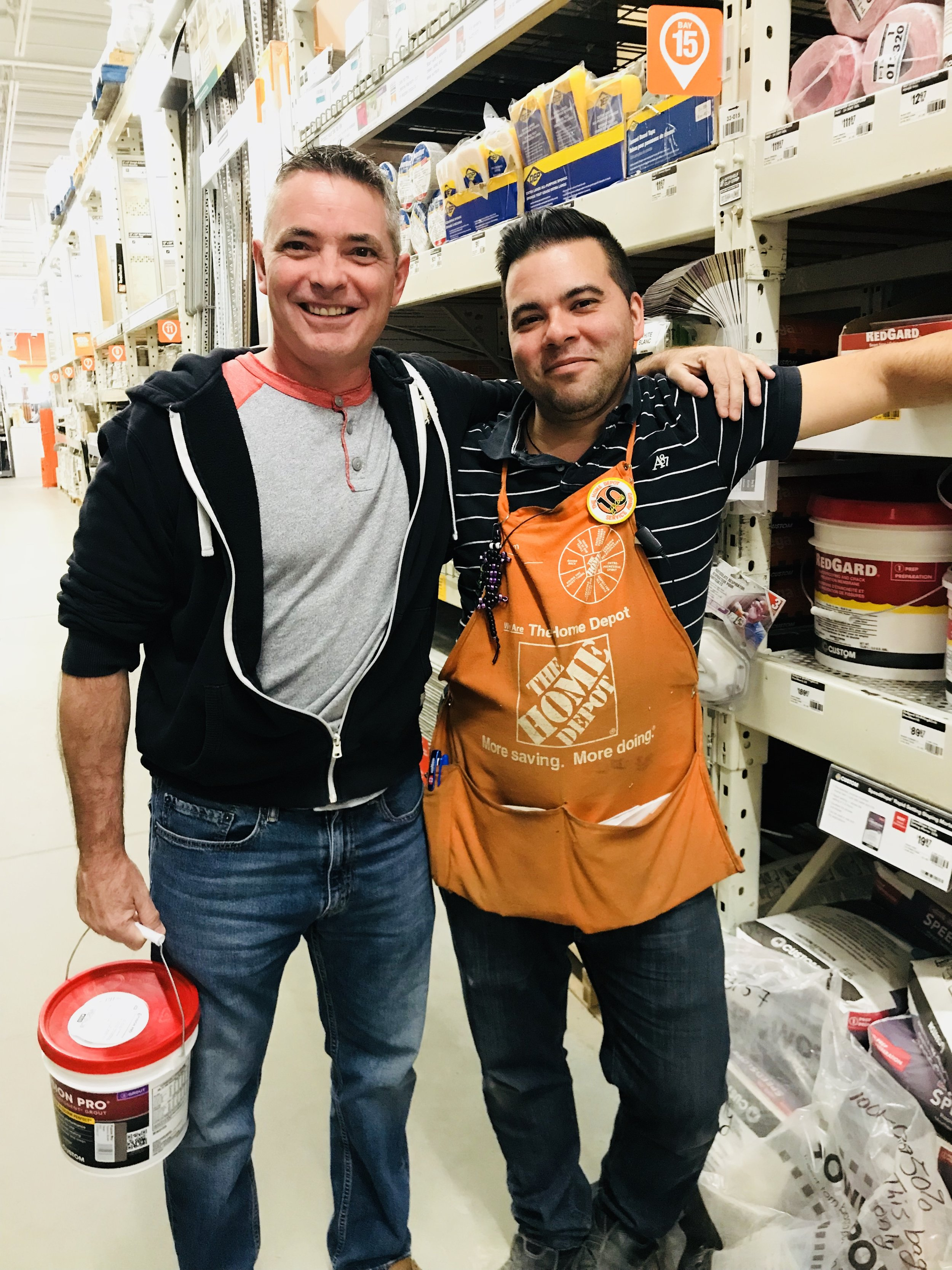 My handy hubby, Alan and Gabe from the Flooring Department at our Local Home Depot