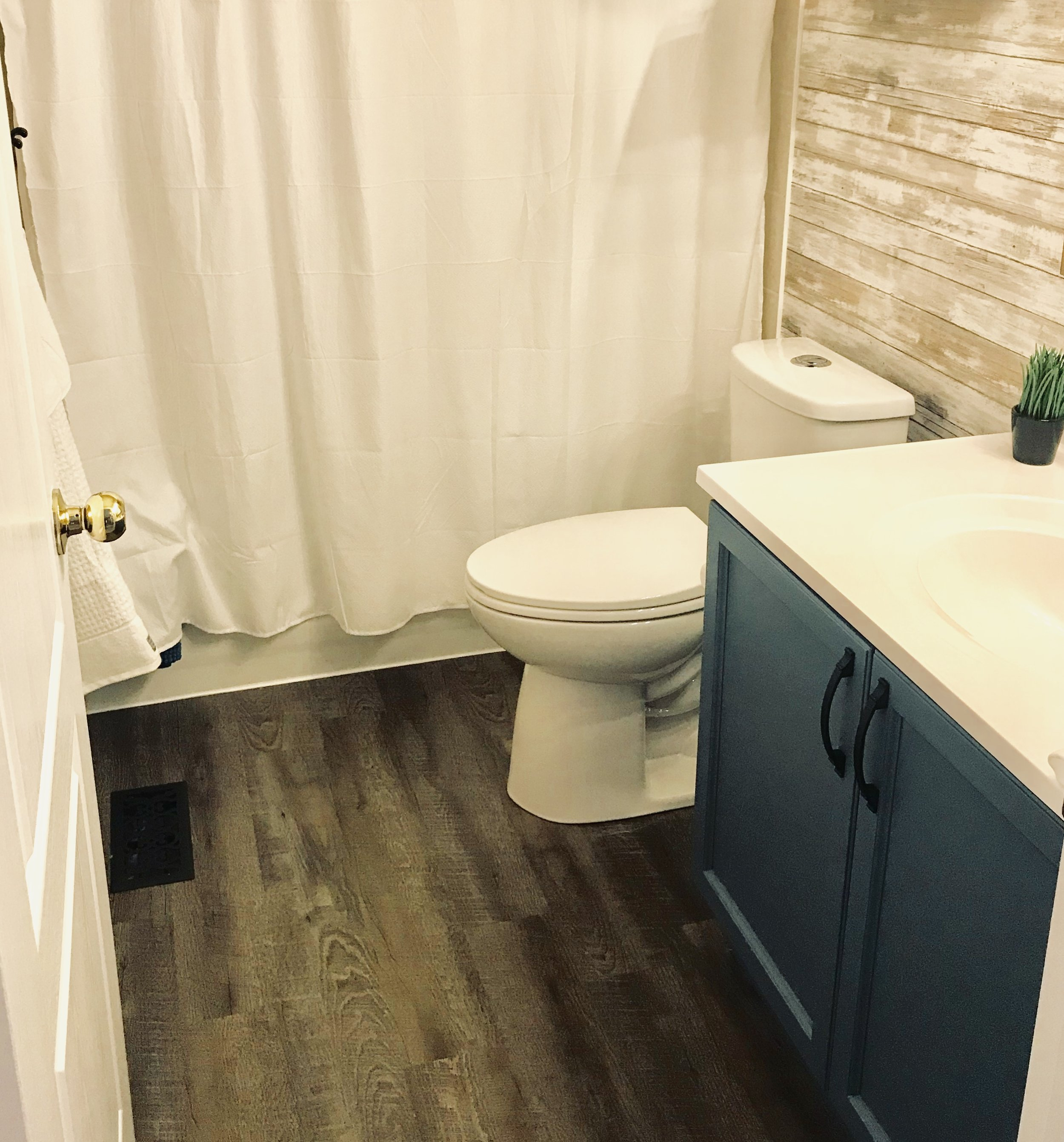 Vinyl Plank Flooring is the perfect option for bathrooms when you do not want to add tile