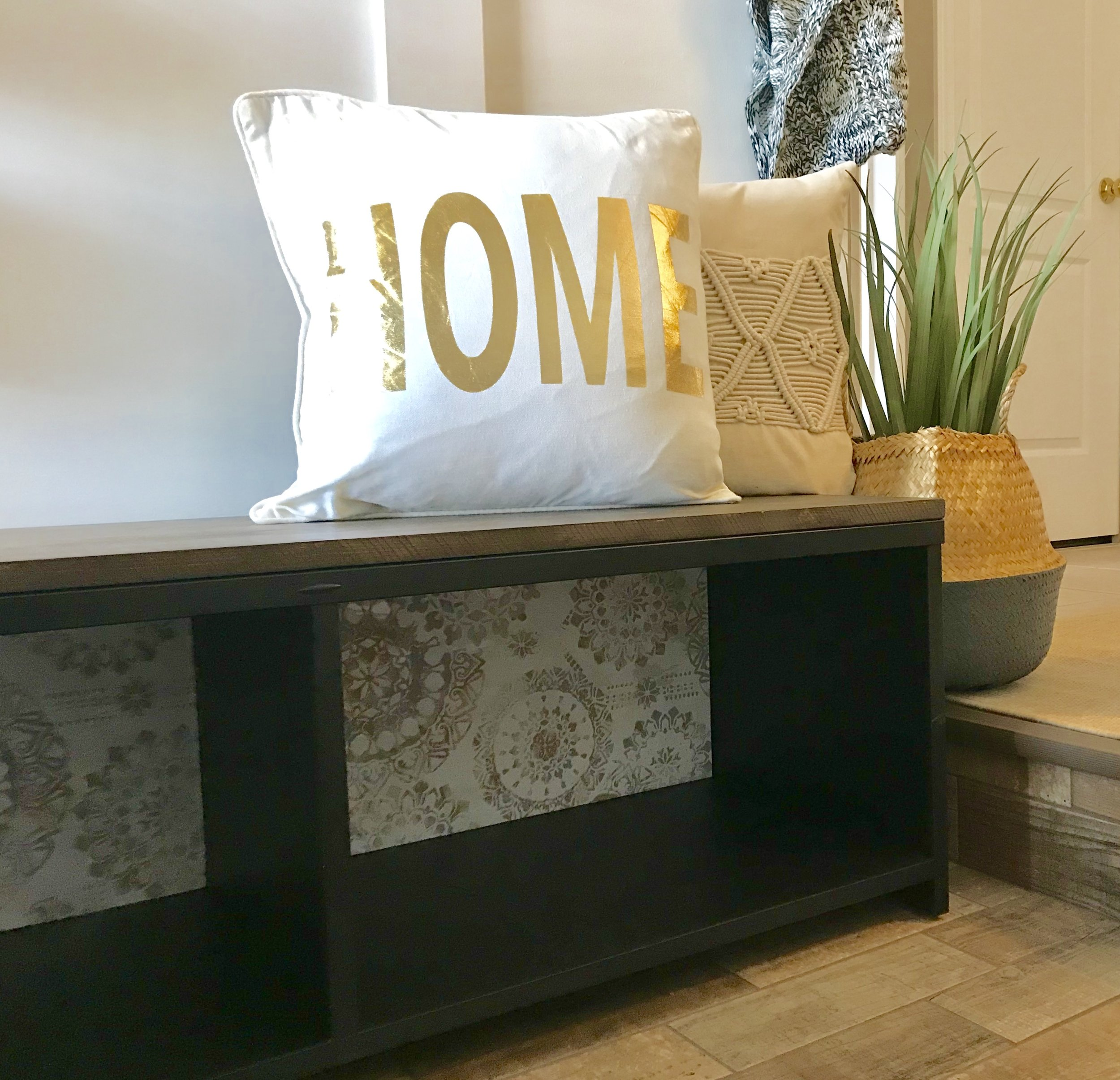 Leftover wallpaper can be used on furniture, in a picture frame, endless possibilities!