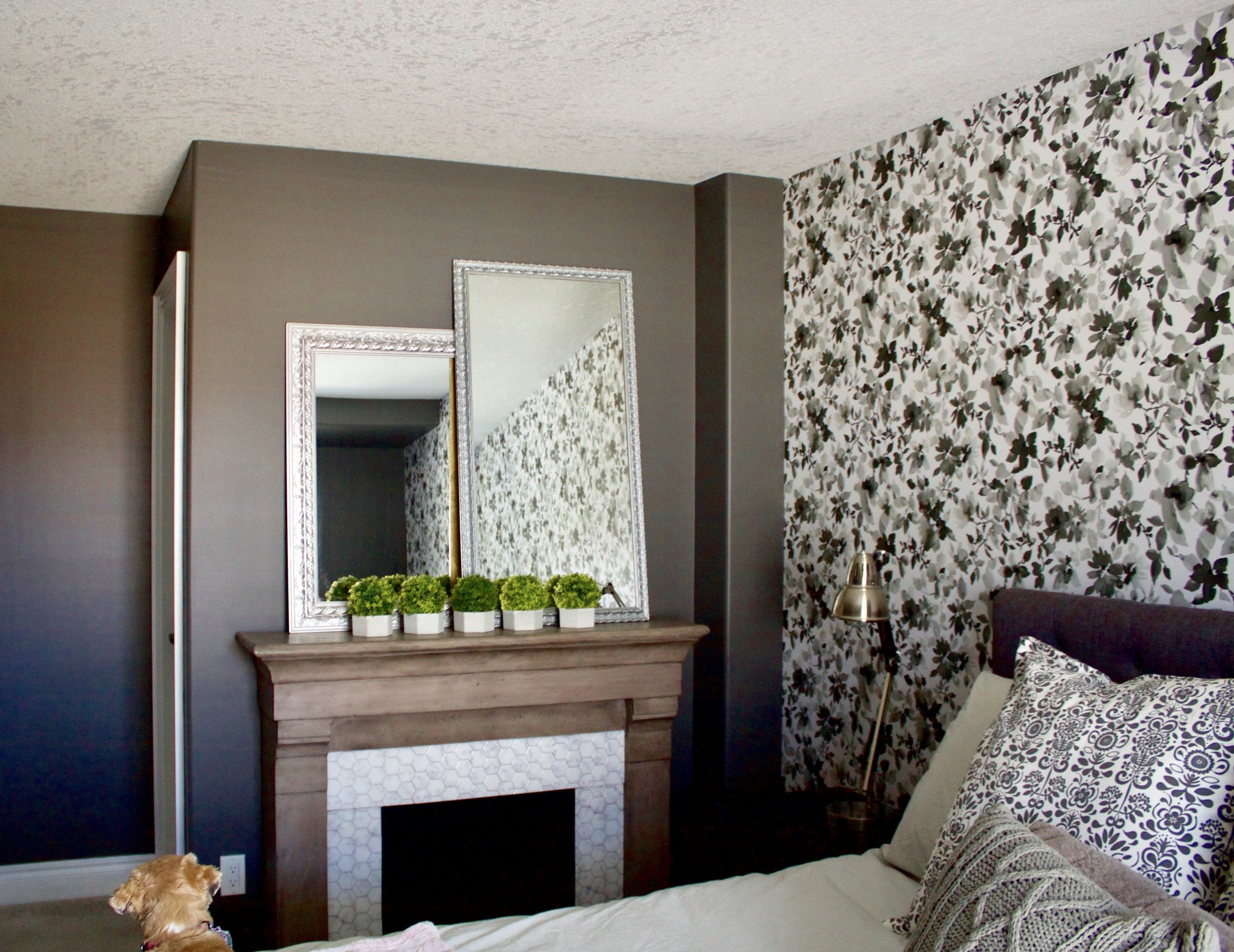 Watercolour Floral  in Black by RoomMates Decor & Stick Tiles on Fireplace are also from RoomMates and you can read all about it on their blog by clicking  HERE