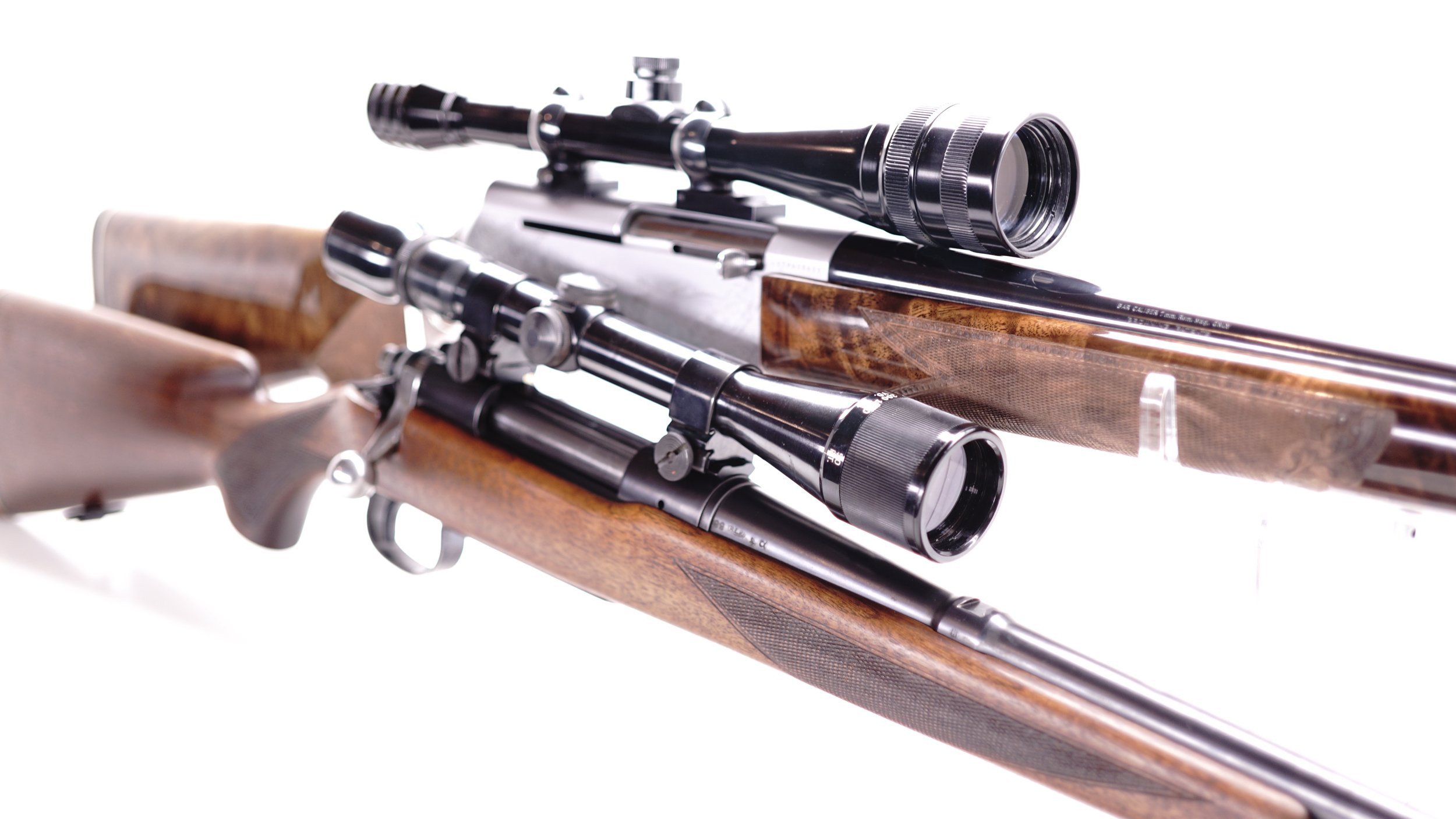 When scopes were finished to match the rifles of the day, the combinations created were each uniquely beautiful and classy.  The unique features like Redfield's Accu-Trac, Accu-Range plus TV Screens and the various retro reticle options added an element of fun to shooting that was previously missing.  Pictured above, a Browning BAR Grade IV in 7mm topped with a rare round view adjustable objective Redfield 4x12x Accu-Trac, Accu-Range.  Below is a 1949 Remington 721B in 30.06 with Weaver mounts which were introduced in the same year and a slightly later made V9 AO.