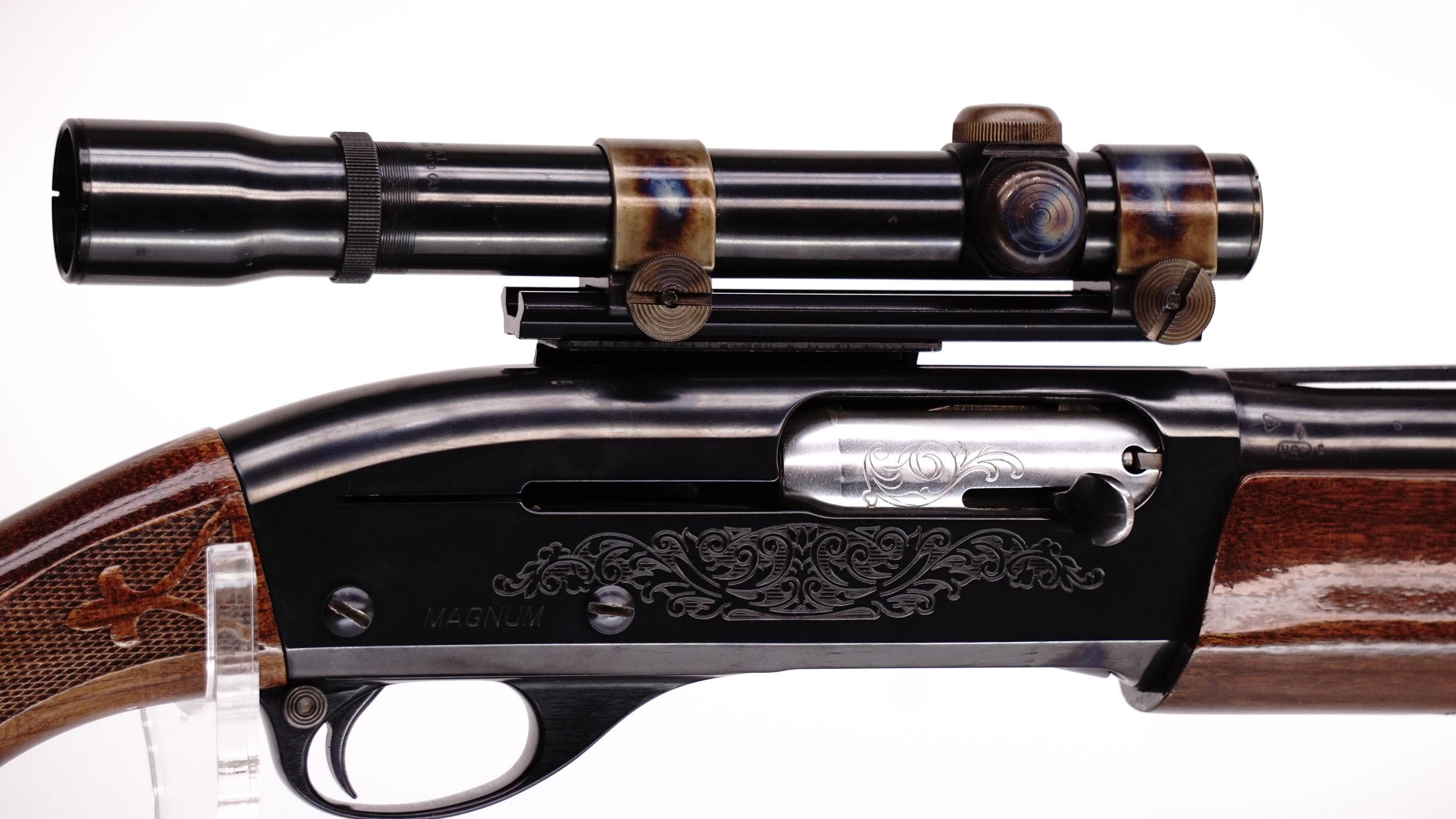 1978 Remington Model 1100 Magnum/Weaver 1100 Mount with Weaver K1 Crosshair/Dot reticle.