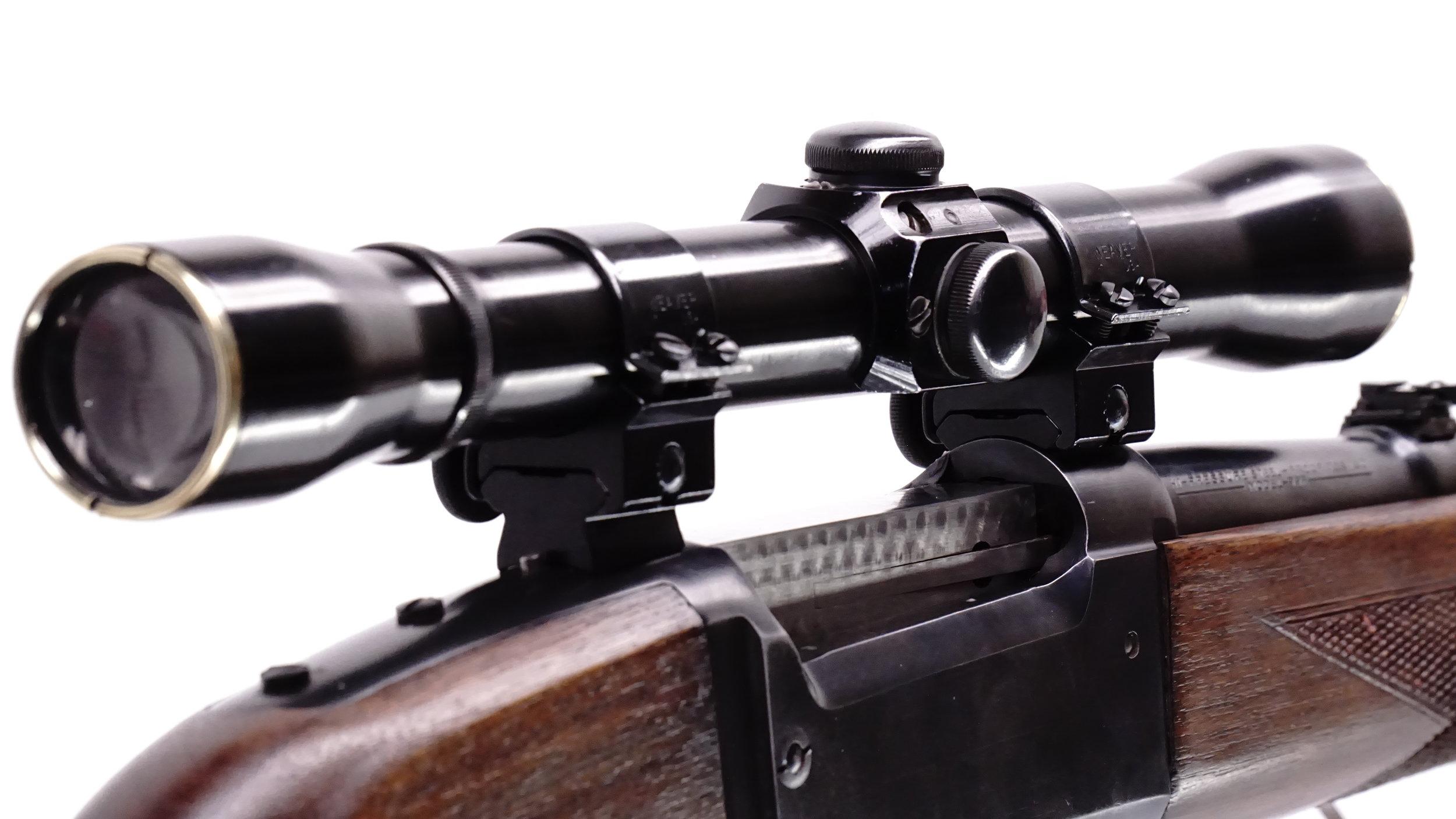 An early 50's Weaver K4 is at home on a 50's 99.  This one is a VGS Restored original, non-centered reticle scope.