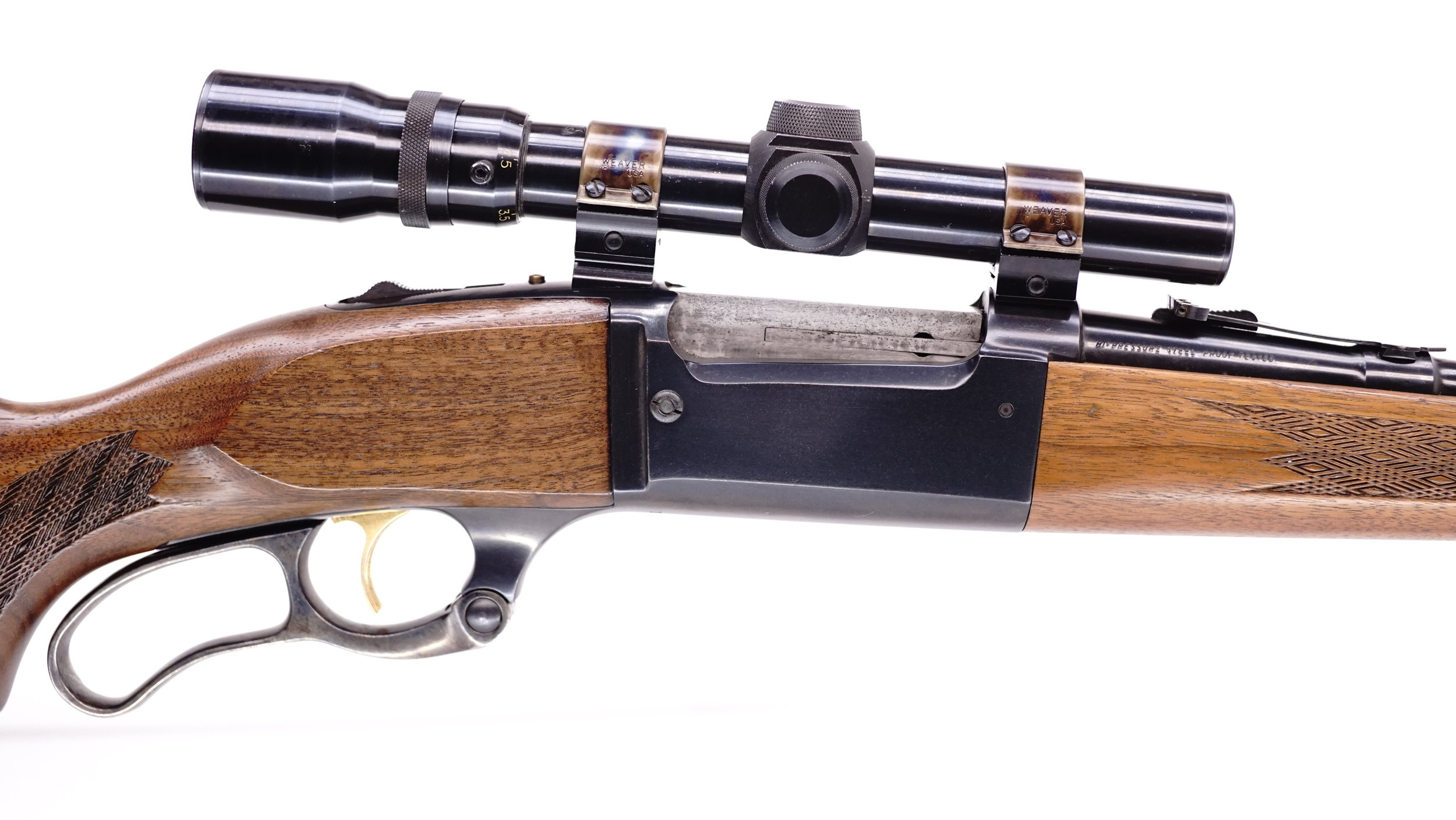 A Weaver V4.5-1, 1.5x-4.5x sits here on a 1967 Savage 99C.  This scope allowed the shooter to go almost from zero to 4.5, eliminating the need to keep access to iron sights for most hunters.