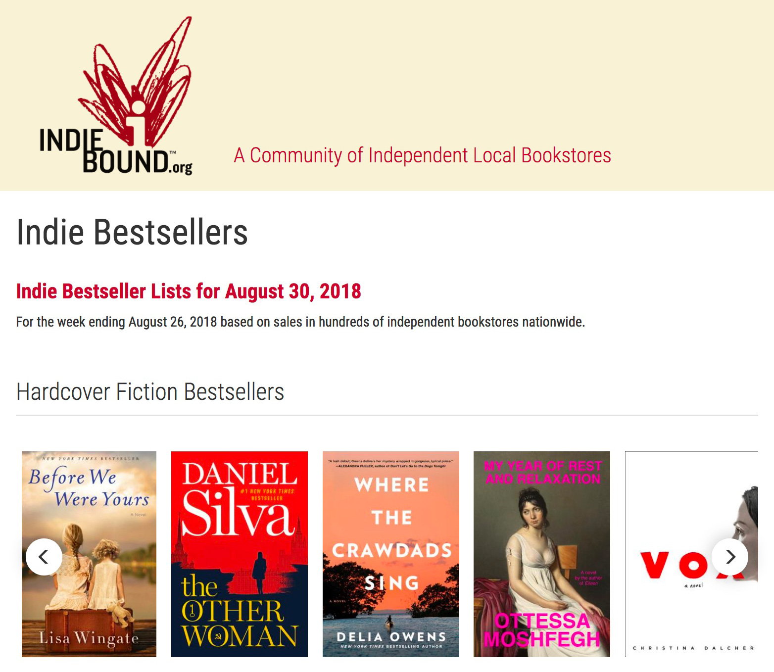 """Called """"an exquisite and heartbreaking novel,""""  Where the Crawdads Sing  appeared on IndieBound's weekly Indie Bestsellers list today for the second week running. It was also an August 2018 Indie Next List Great Read."""