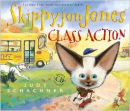 Skippyjon Jones, Class Action   by Judy Schachner  Skippyjon Jones really wants to go to school. School is for dogs, his mama tells him. It's where they go to get trained. But nothing can stop Skippy-once inside his closet, he finds himself on the playground of his imagination, surrounded by dogs of all kinds. He bays with the beagles, learns French with the poodles, and checks out a Chihuahua book from the library. And when a bully starts sending shiver-itos down the spines of the little yippers, Skippy saves the day and earns the biggest gold star.