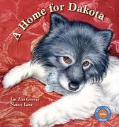 A Home for Dakota   by Jan Zita Grover  Dog No. 241 lives in a crate in a cold, dark barn that is stacked with hundreds of other caged dogs in a puppy mill breeding operation. She has never known human companionship, exercise, or decent care. One night, rescuers arrive and take her and the other dogs away to lead new and happier lives. Soon, despite her fears, she finds herself in a warm, secure foster home, being bathed and groomed and loved by a young woman named Emma. At first, she is too frightened to respond; all she wants is to return to the familiar dark. Eventually renamed Dakota, she learns to love and trust Emma, and her foster home becomes a friendly haven. But then a new challenge arrives in the person of a young girl, Sweetie, who is recovering from a misfortune as deep as Dakota's own. Sweetie and her parents come to look at Dakota as a possible pet. Initially, Sweetie rejects hairless little Dakota, but later she returns to offer Dakota a home, and Emma recommends her for adoption. With Emma's reassurances, Dakota goes to her forever home to become Sweetie's true partner in recovery.