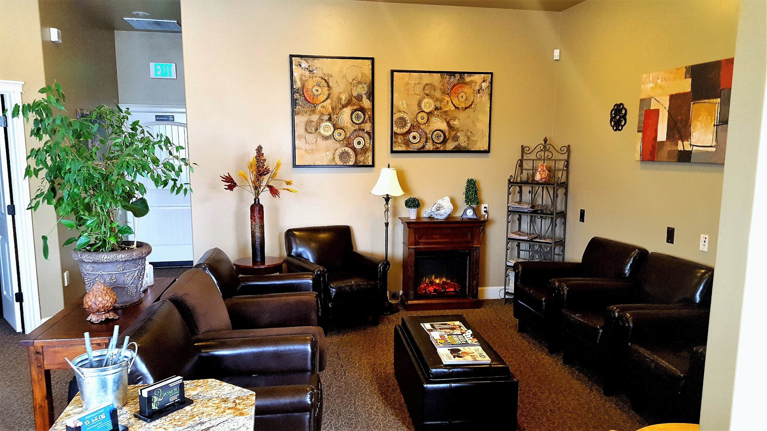 comfortable - We have tried to create an atmosphere where our clients can feel comfortable while waiting for their treatments, we have lots of magazines, music, and even a fireplace to keep you cozy during your wait. This isn't your regular trip to the doctors office, no white walls and florescent lights here!