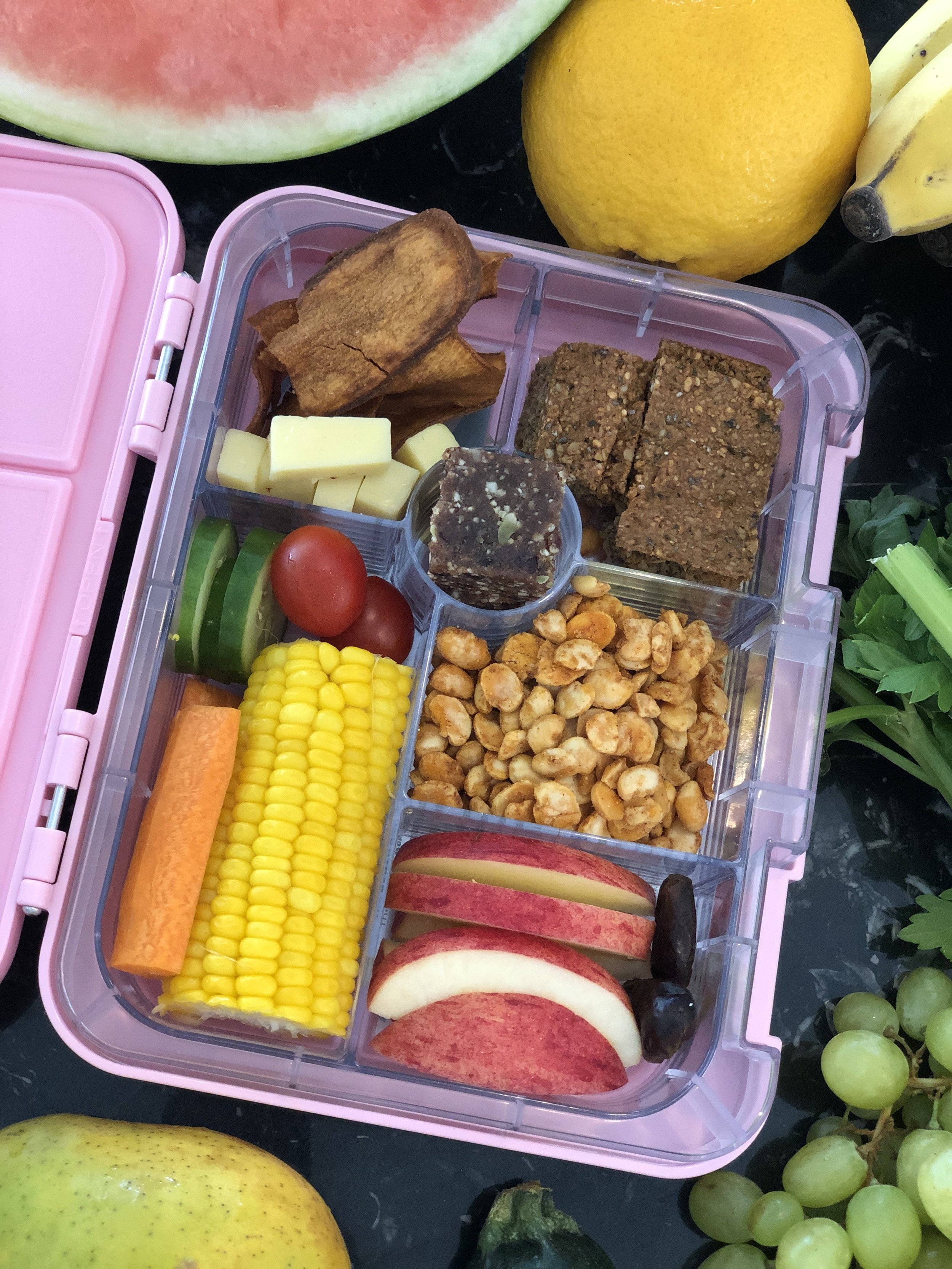TUESDAY - Dairy: Cheese and sweet potatoe chipsVege: Salad and corn on the cobFruit: Apple and dried fruitsProtein: Human Bean Co Faba BeansGrain: Lunchbox friendly Muesli Bars from the Wholesome ChildTreat: Health Lab Kids Probiotic Bites