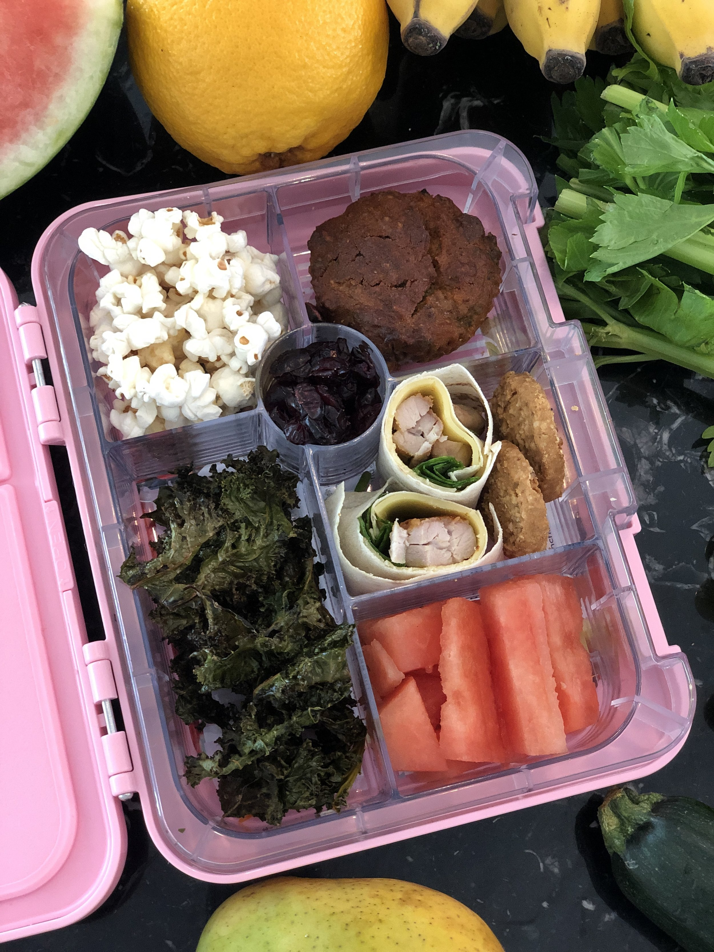 THURSDAY - Dairy and Protein: Chicken, cheese and spinach wraps on Mountain BreadVege: Kale ChipsFruit: WatermelonGrain: Carrot and Cinnamon Muffins from the Wholesome Child and PopcornTreat: Dried Cranberries
