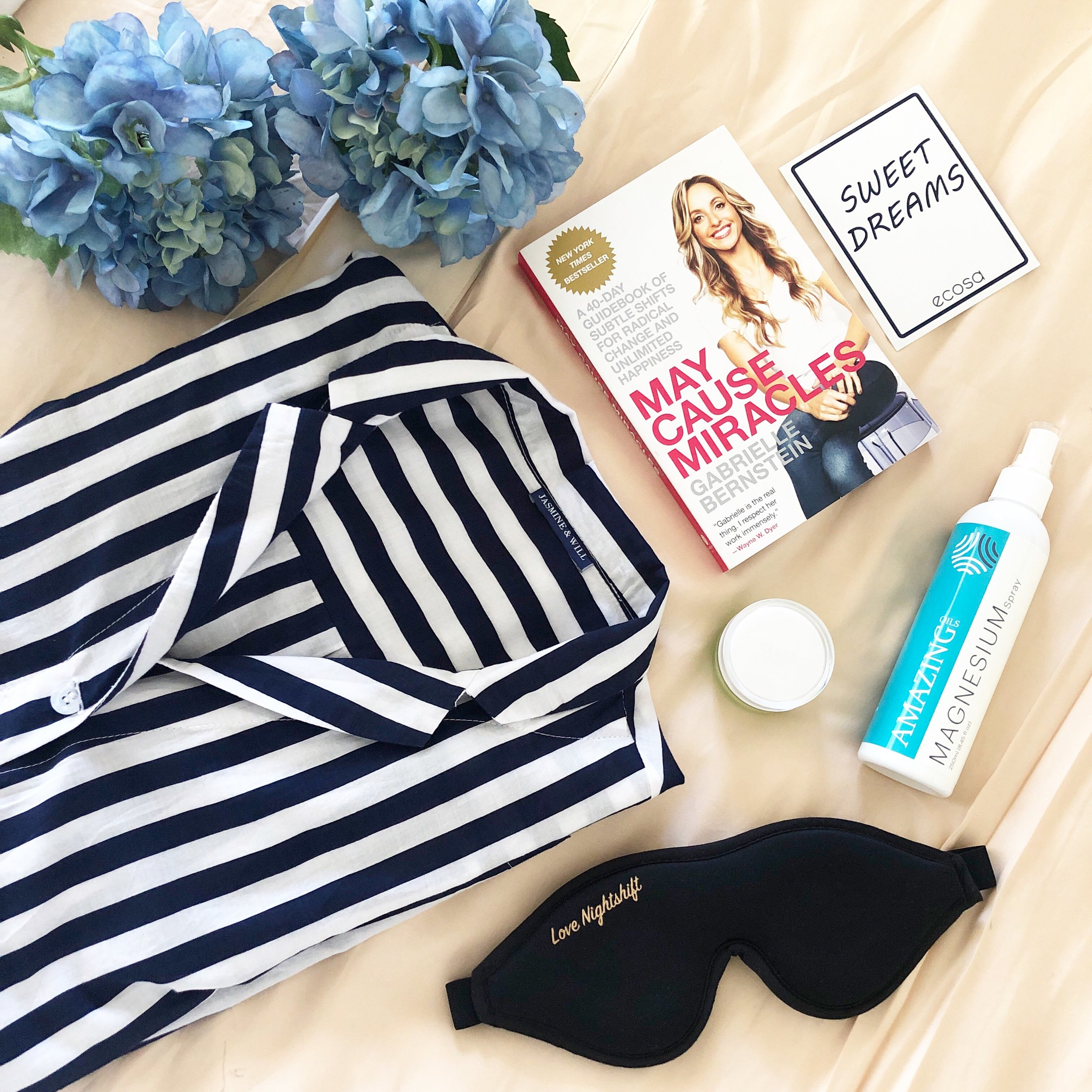 My sleep essentials flat lay featuring  Jasmine and Will , my current read by Gabrielle Bernstein - May Cause Miracles,  Noelle Australia Kakudu Plum Firm Eye Cream  and our Amazing Oils Magnesium Spray.