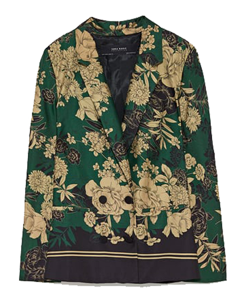 ZARA - Double Breasted Printed Blazer, $89.90