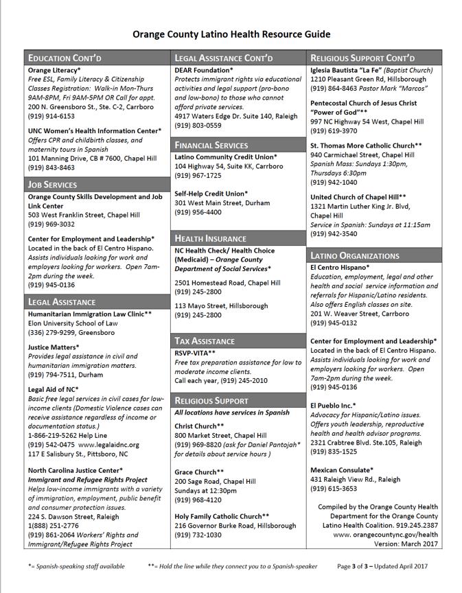 Orange County Latino Health Resource guide