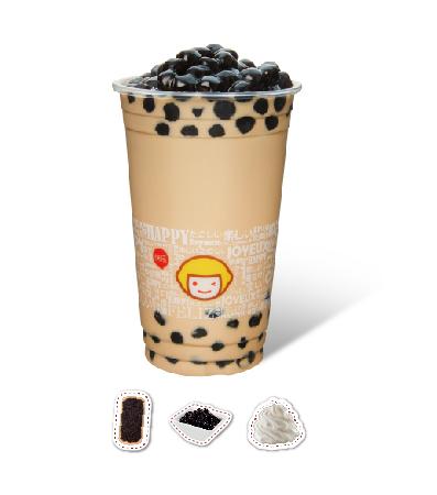 Milk Tea with Pearl Sago and Puff Cream
