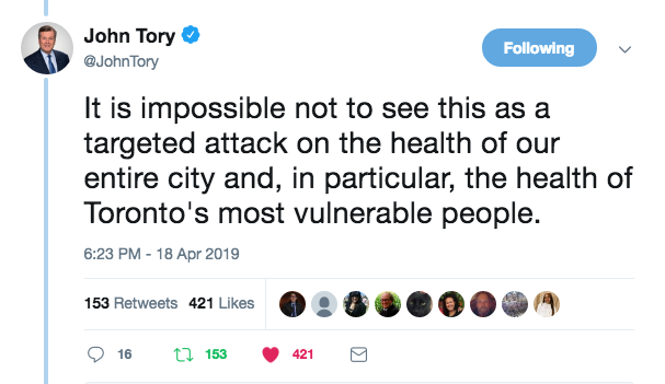 Mayor John Tory on Premier Doug Ford's massive cuts to Toronto Public Health.    See Mayor Tory's statement and twitter threaD from Thursday April 18 here   .