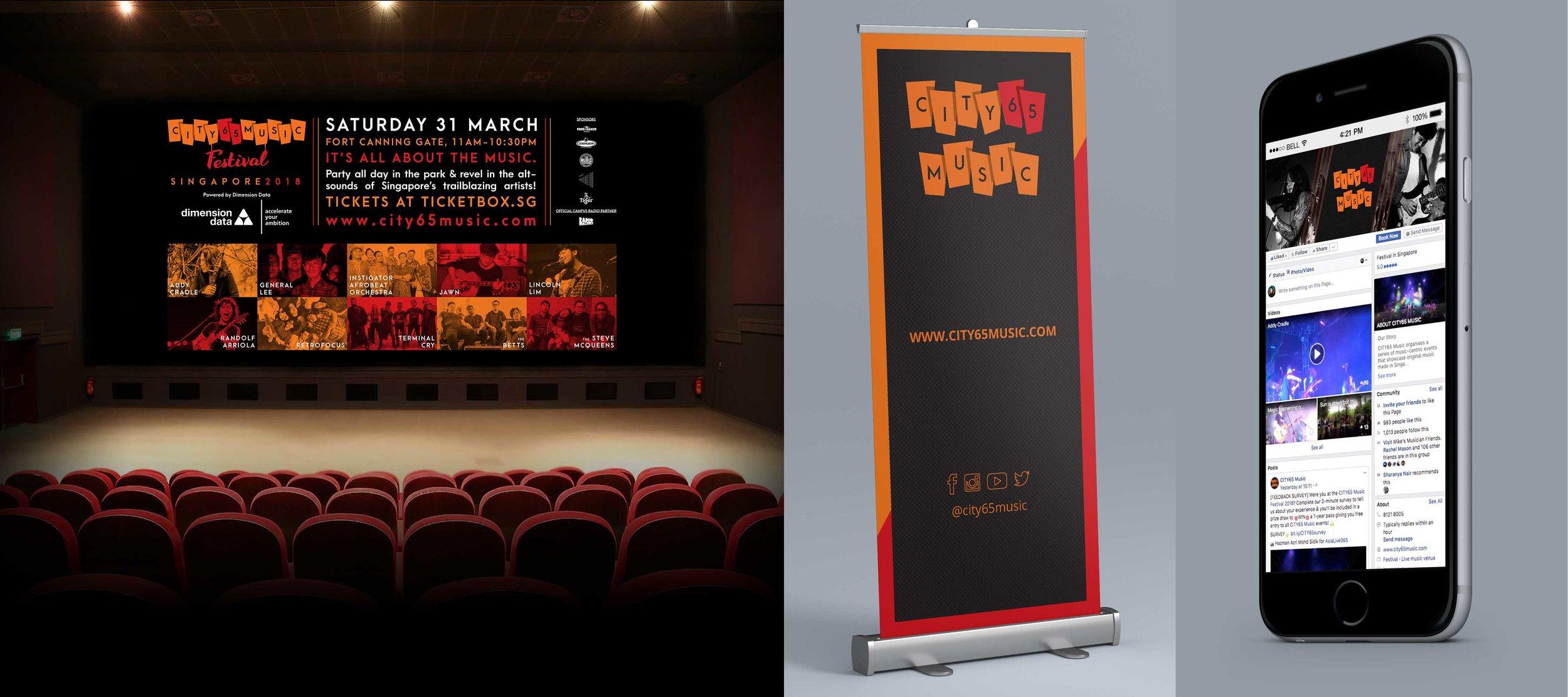 Promo assets - Cinema ad slide, pull-up banner, social media banners