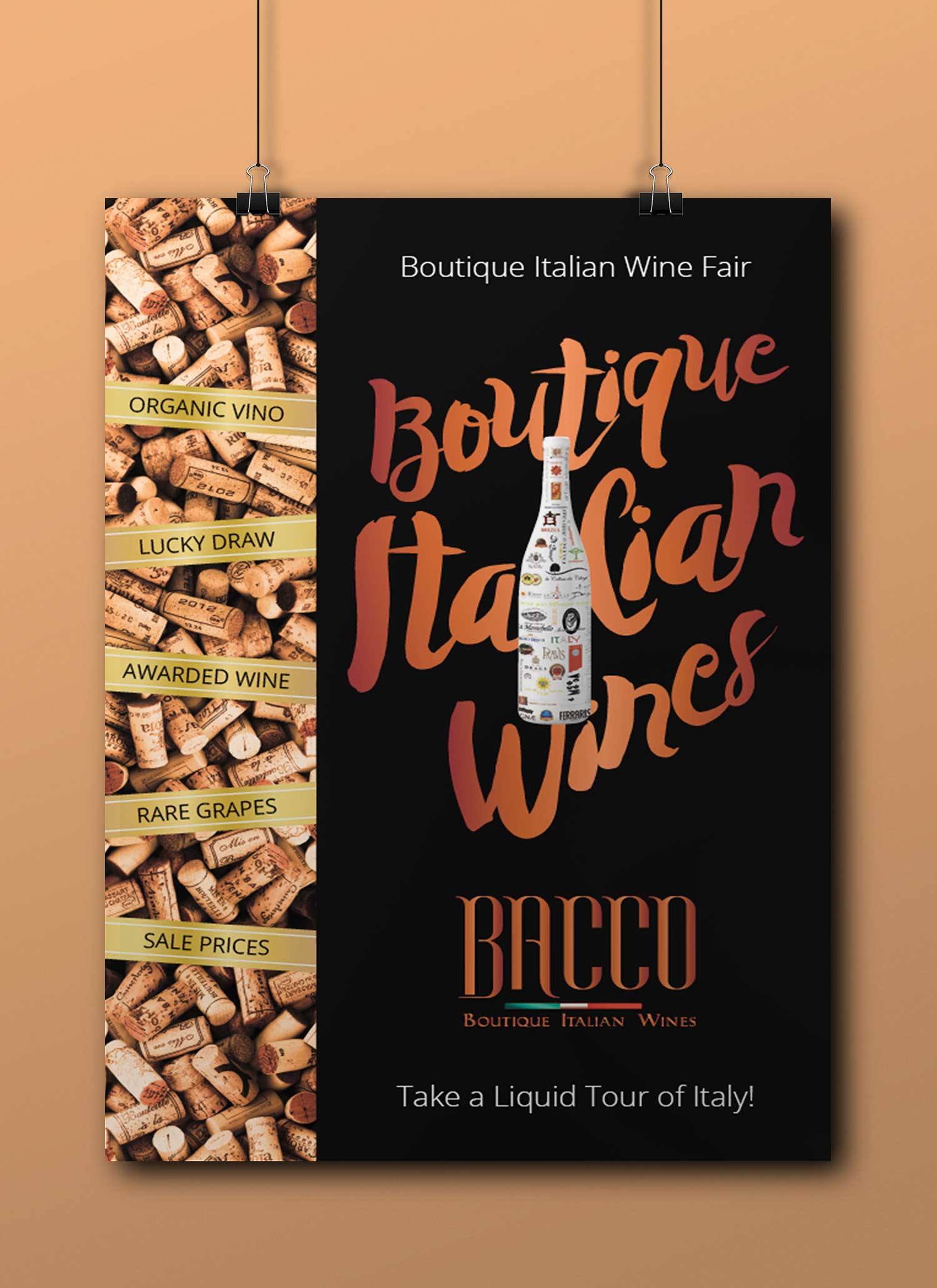 Boutique Italian Wine Fairs - Every three months, Bacco invites 250 guests to taste 20 or so of the 300+ wines that make up their shop offerings. These are red, white, rosé, sparkling and dessert wines flown in from organic wineries across Italy.