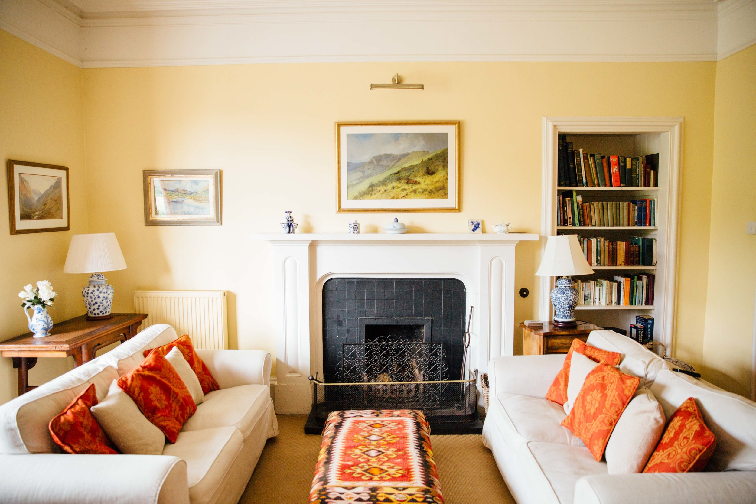 Ground Floor - Sitting Room with open fire and TVDrawing Room with open fireMorning Room with open fireDining Room with open fireStudy with open fire and TV, desk and Wi-Fi hubDogs room with sinkLarge conservatory porch with drying cupboardsButlers pantry equipped with sink, dishwasher, fridge for drinks, wine racksand cupboards for chinaKitchen equipped with four-oven electric Aga and two warming ovens, large fridge and dishwasherLarge walk-in larderScullery and wash room with tumble drier, washing machine and deep freezeWC