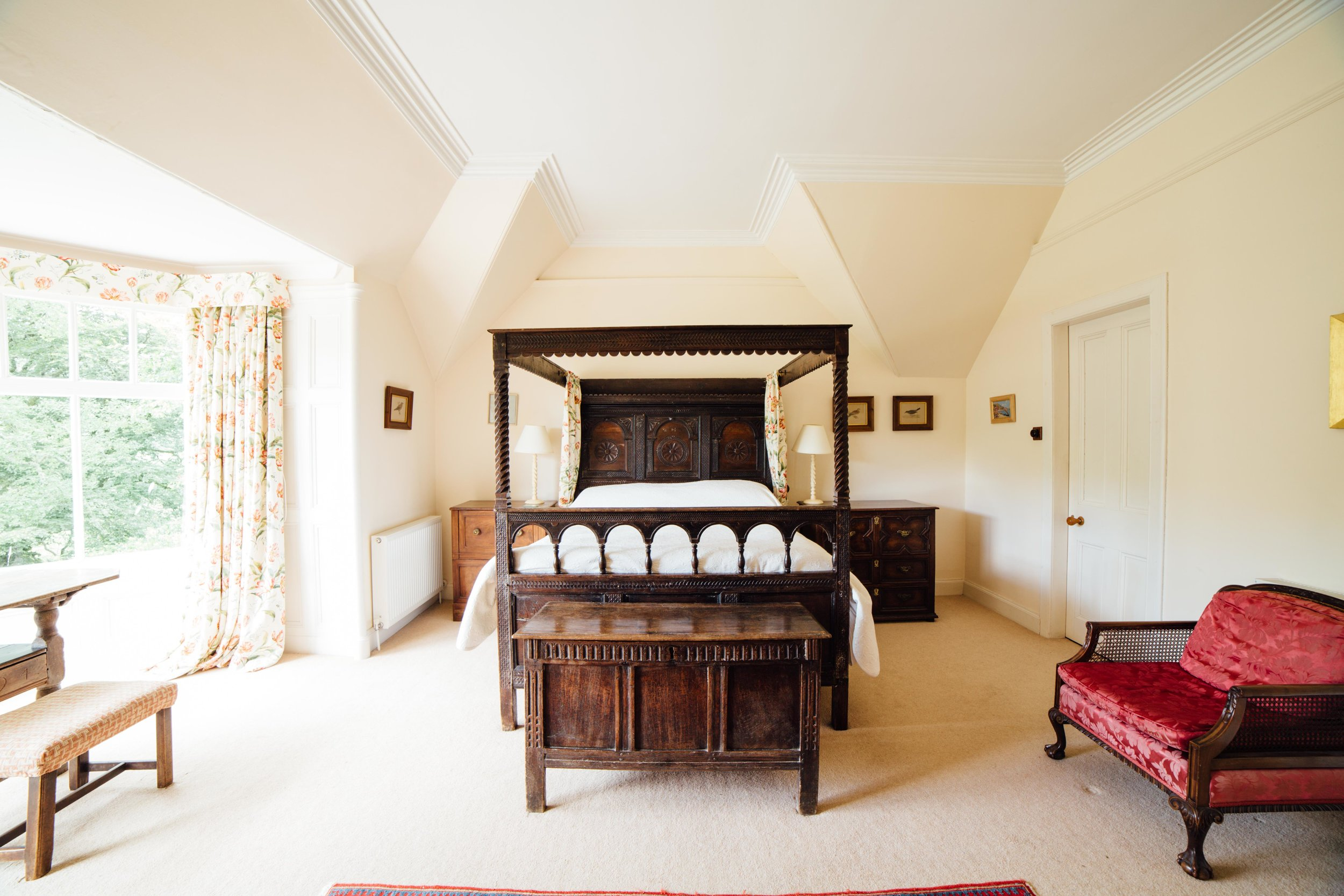 First Floor - Seven bedrooms, three with ensuite bathrooms as follows:Bedroom One with twin bedsBedroom Two with double bed and ensuite bathroomBedroom Three with twin beds and basinBedroom Four with double bed and ensuite bathroomBedroom Five with Jacobean four poster double bed and ensuite bathroomBedroom Six with twin bedsBedroom Seven with twin bedsTwo further bathrooms