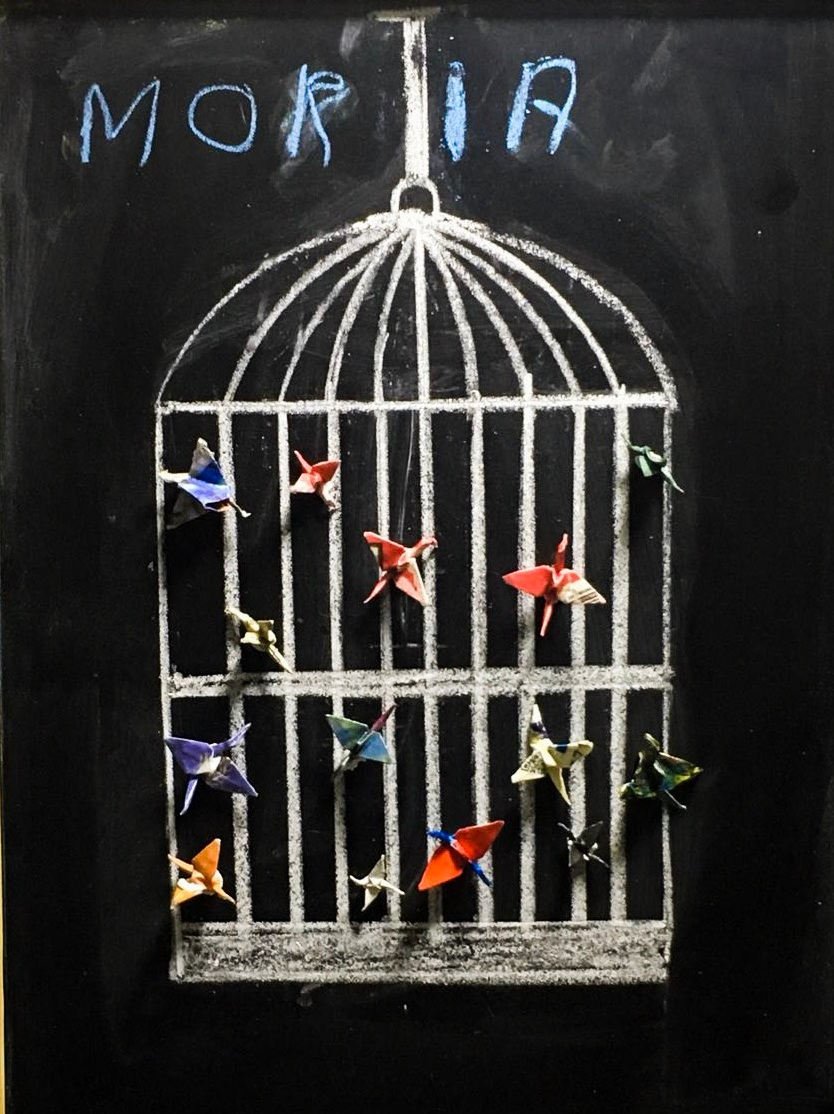 """Moria Camp depicted as a birdcage - from the stop-motion film """"Migrant Birds"""" created during a YU workshop in partnership with Mosaik Support Center Upcycling"""