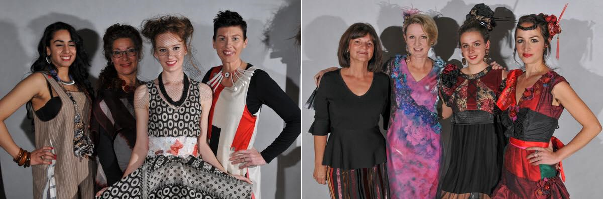 Left-Philomena Hali (2nd from left) and her designs. Right-Carmel Ryan (on left) and her designs