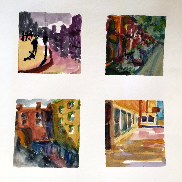 Small size - reveals the composition. Simplify colors into clear blocks. As you paint, notice which details are essential, and which can drop away.