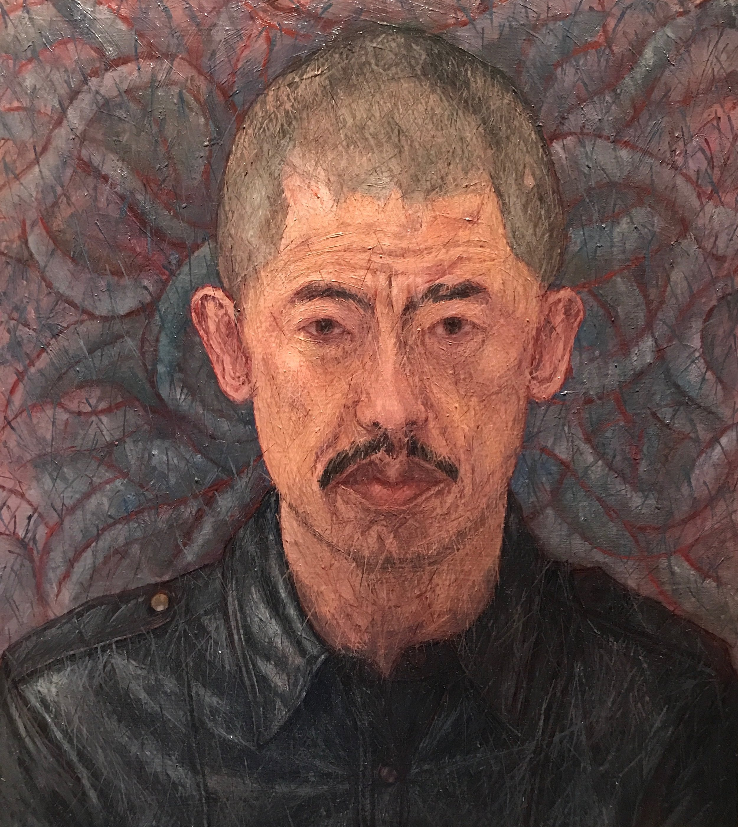 "Ghee's self portrait: ""Media (Self-Portrait in Black Leather Shirt)"", Sept 21, 2016. Oil on Canvas, 18"" x 20""."